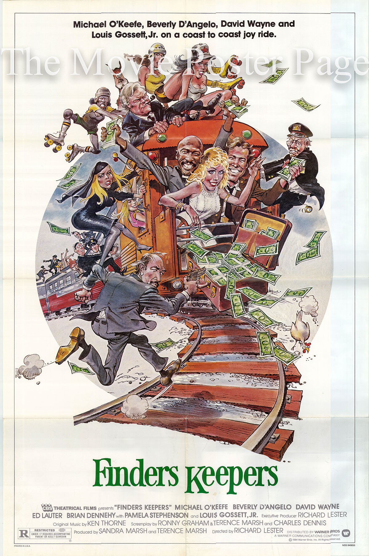 Pictured is a US one-sheet poster for the 1984 Richard Lester film Finders Keepers starring Michael O'Keefe as Michael Rangeloff.
