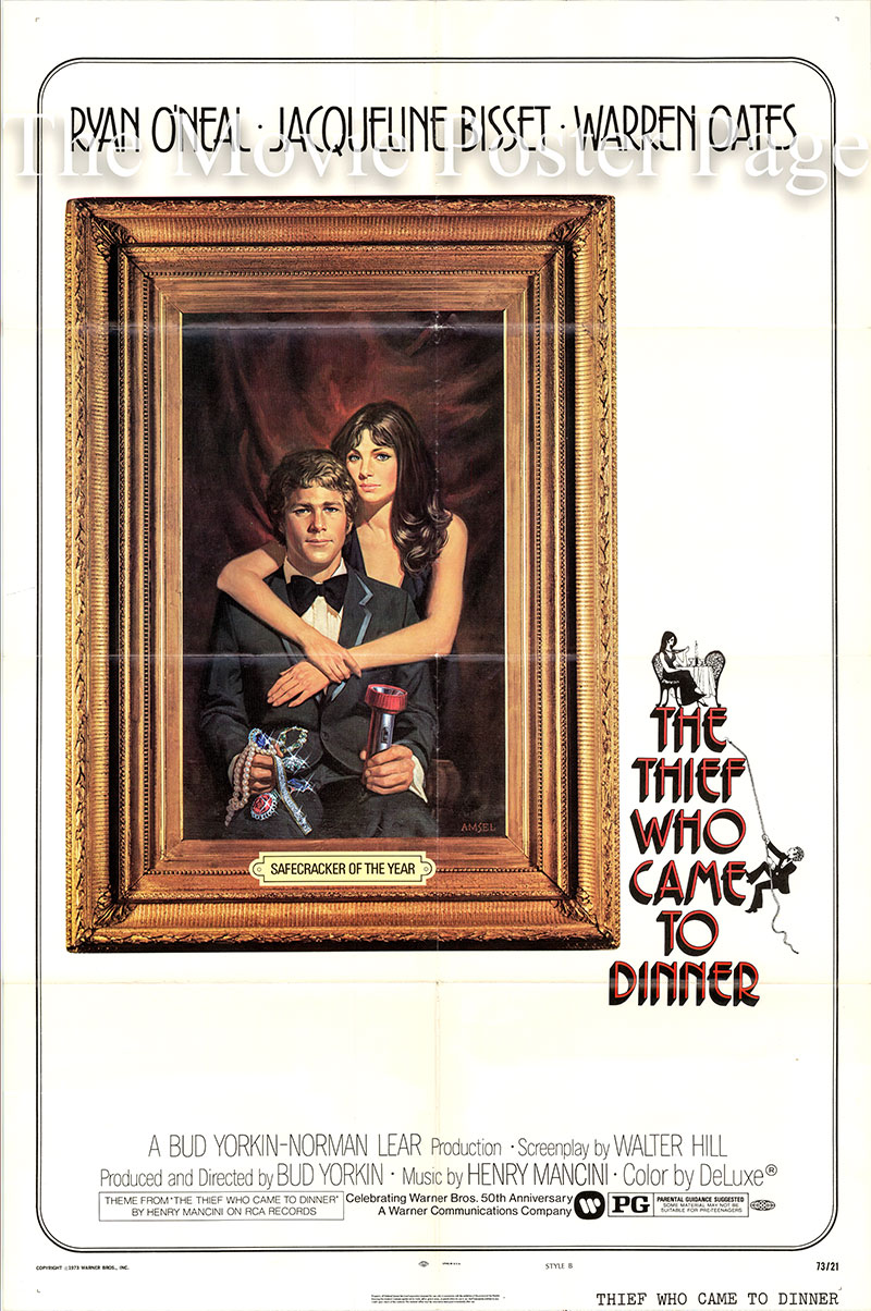Pictured is a US one-sheet poster for the 1973 Bud Yorkin film The Thief Who Came to Dinner starring Ryan O'Neal as Webster McGee.