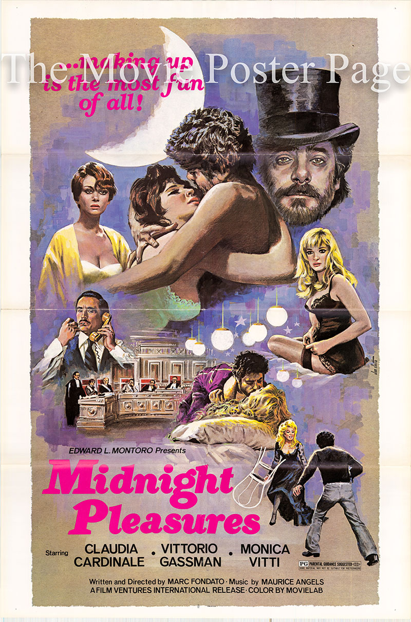 Pictured is a US one-sheet poster for the 1975 Marc Fondato film Midnight Pleasures starring Claudia Cardinale.