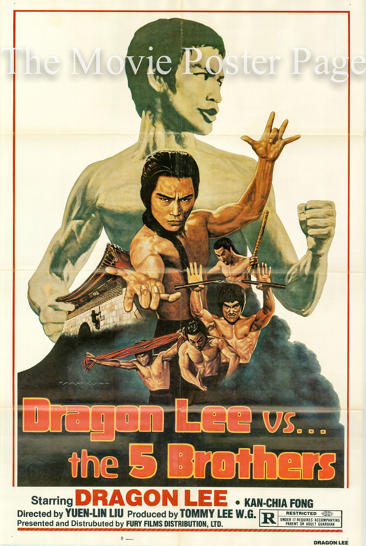 Pictured is a US one-sheet poster for the 1981 Yuen-lin Liu film Dragon Lee vs. the Five Brothers starring Dragon Lee.