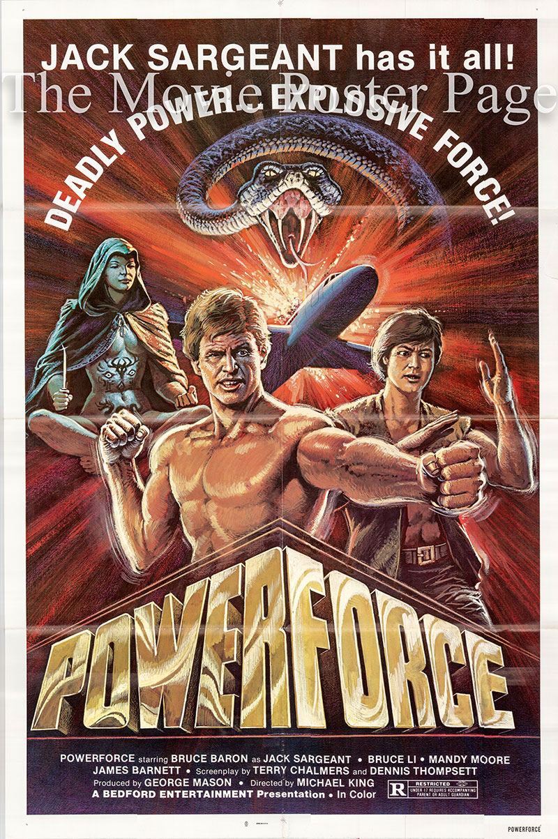 Pictured is a US one-sheet poster for the 1982 Michael Mak film Powerforce starring Bruce Baron as Jack Sargeant.