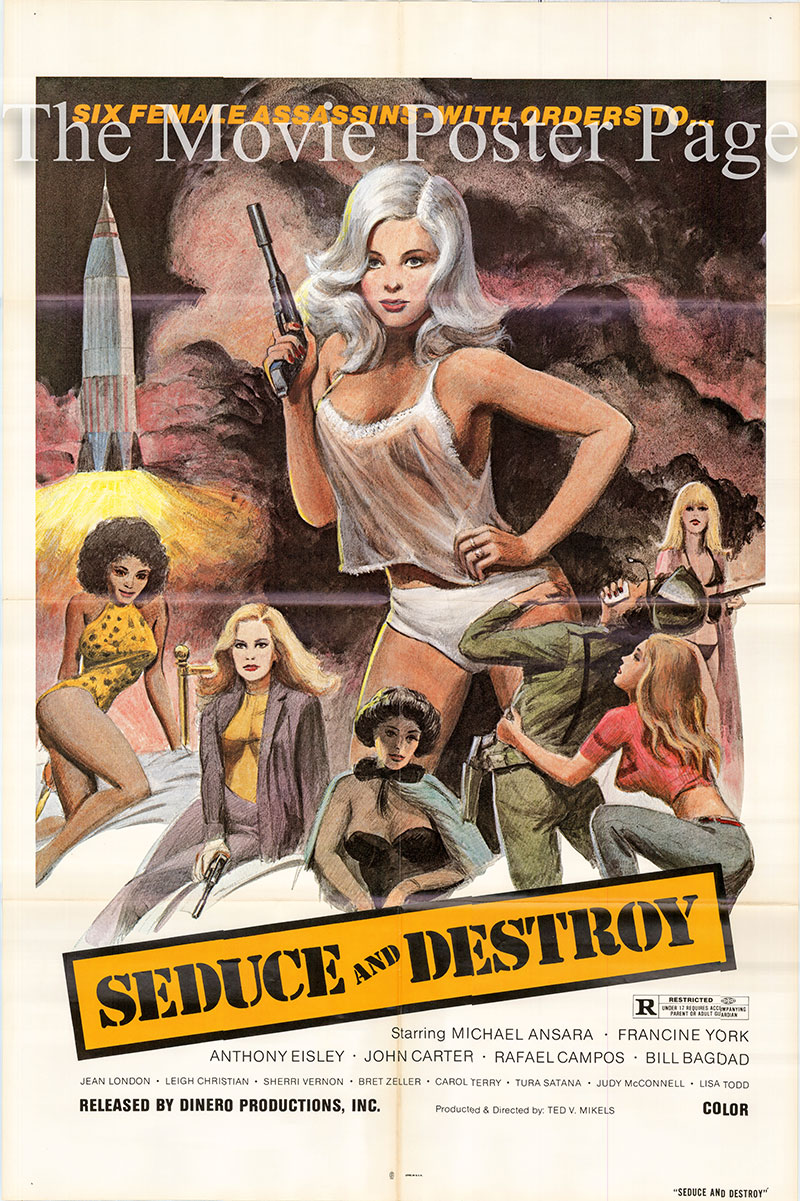 Pictured is a US one-sheet poster for the 1973 Ted V. Mikels film Seduce and Destroy starring Michael Ansara.