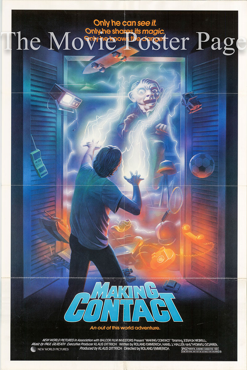 Pictured is a US one-sheet poster for the 1986  Roland Emmerich film Making Contact starring Joshua Morell as Joey Collins.
