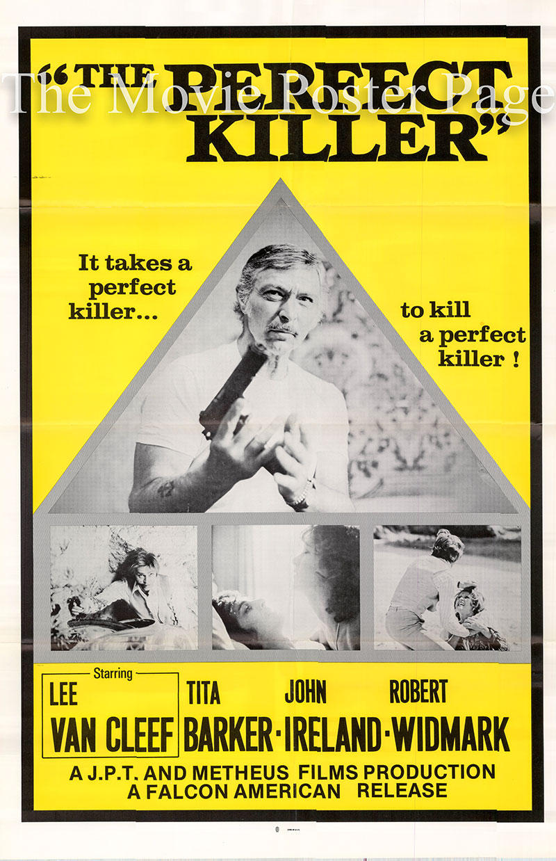 Pictured is a US one-sheet poster for the 1977 Mario Siciliano film The Perfect Killer starring Lee Van Cleef as Harry Chapman.