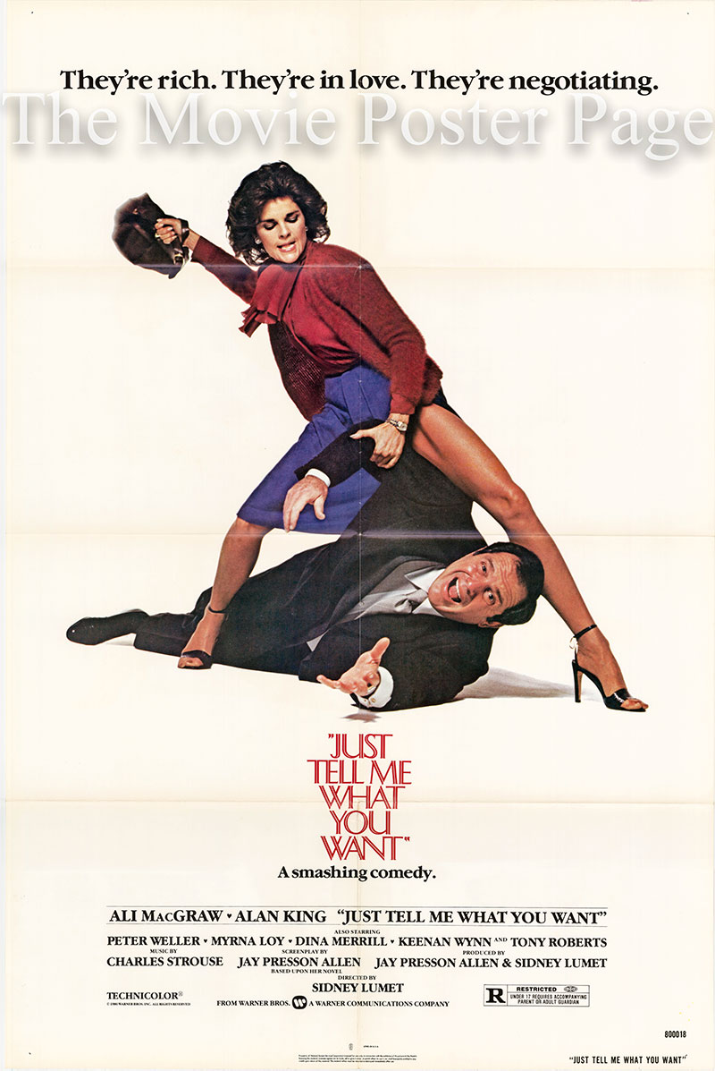 Pictured is a US promotional one-sheet for the 1980 Sidney Lumet film Just tell Me What you Want starring Ali McGraw.