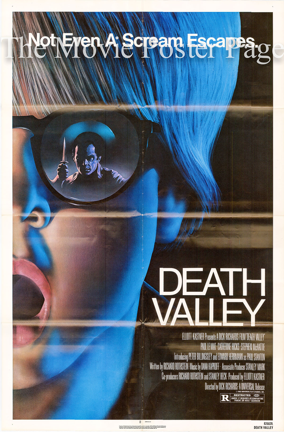 Pictured is a US one-sheet poster for the 1978 Dick Richards film Death Valley starring Paul Le Mat as Mike.