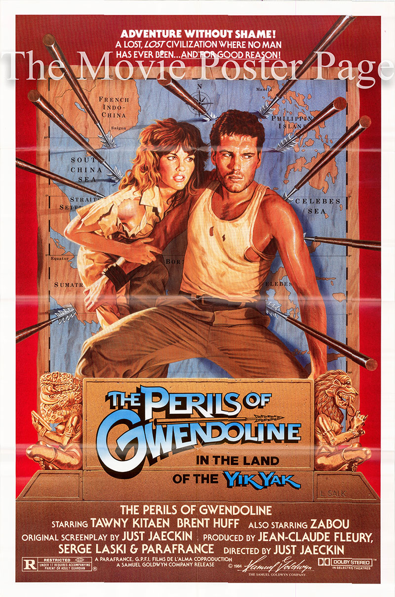 Pictured is a US one-sheet poster for the 1984 Just Jaeckin film Perils of Gwendoline in the land of the Yik Yak starring Tawny Kitaen.
