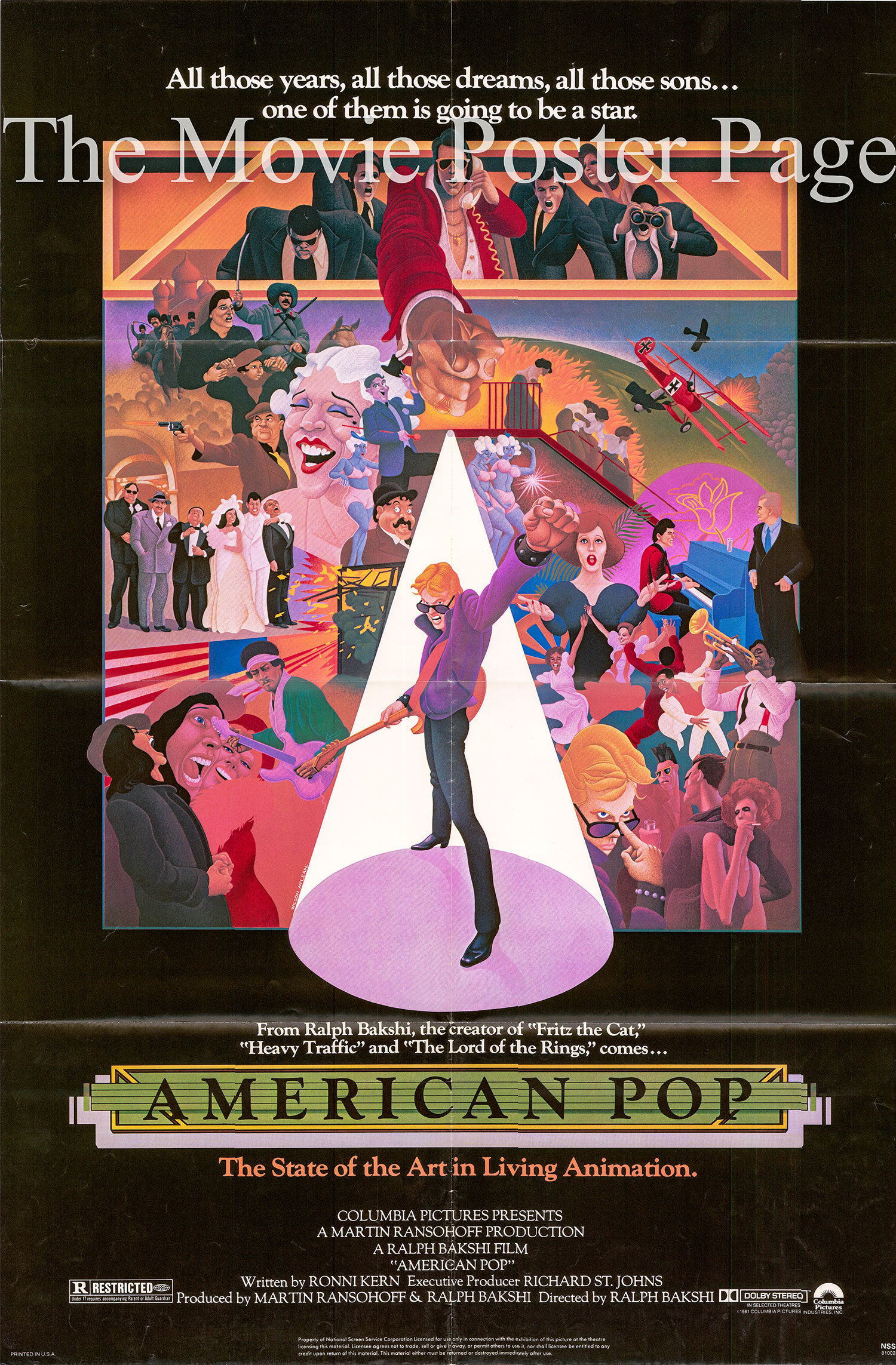 Pictured is a US one-sheet poster for the 1981 Ralph Bakhshi film American Pop.