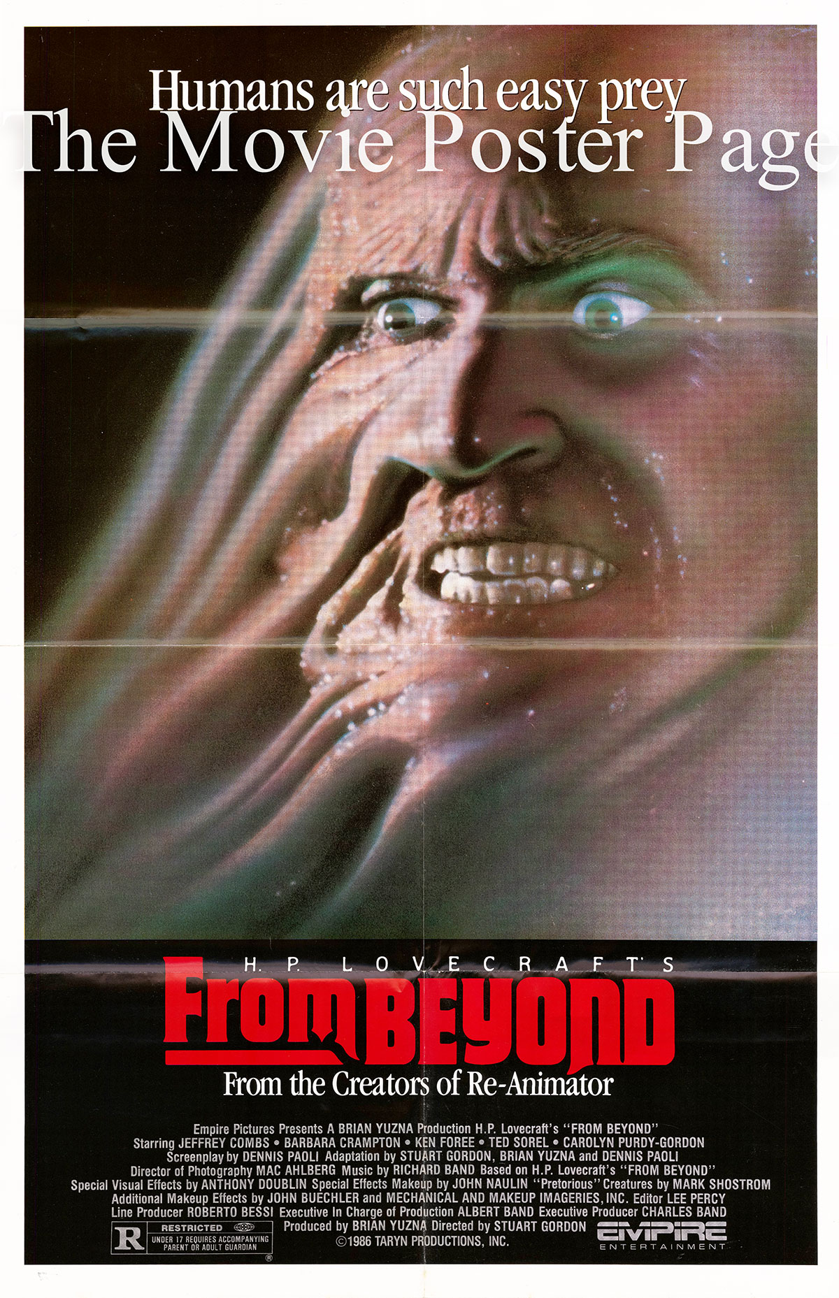 Pictured is a US one-sheet poster for the 1986 Stuart Gordon film From Beyond starring Jeffrey Combs as Crawford Tillinghast.