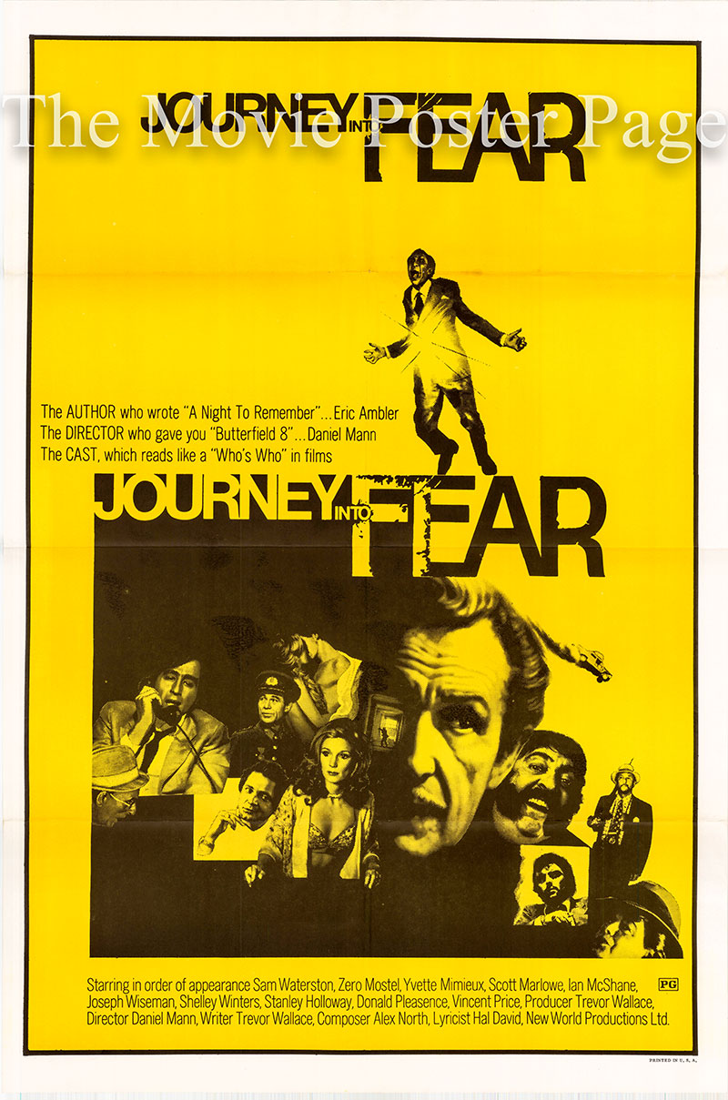 Pictured is a US one-sheet poster for the 1975 Daniel Mann film Journey into Fear starring Zero Mostel.