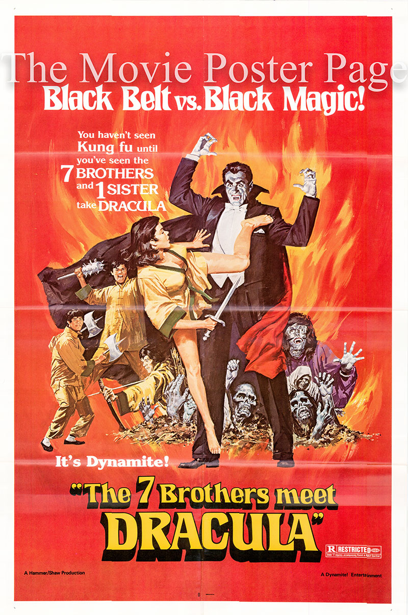 PIctured is a US 1979 rerelease promotional poster for the 1974 Roy Ward Baker film Seven Brothers Meet Dracula starring Peter Cushing as Professor Lawrence Van Helsing.