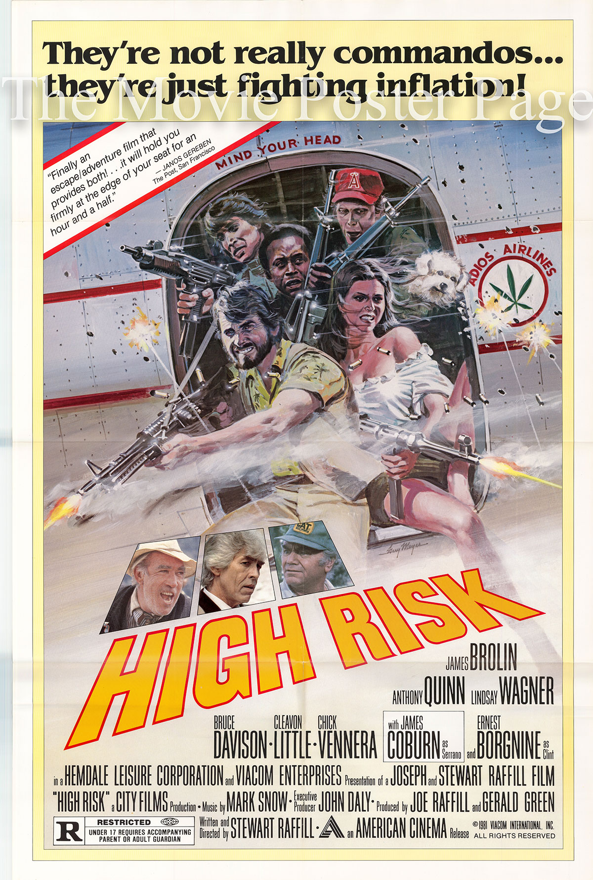 Pictured is a US promotional poster for the 1981 Stewart Raffill film High Risk starring James Brolin.
