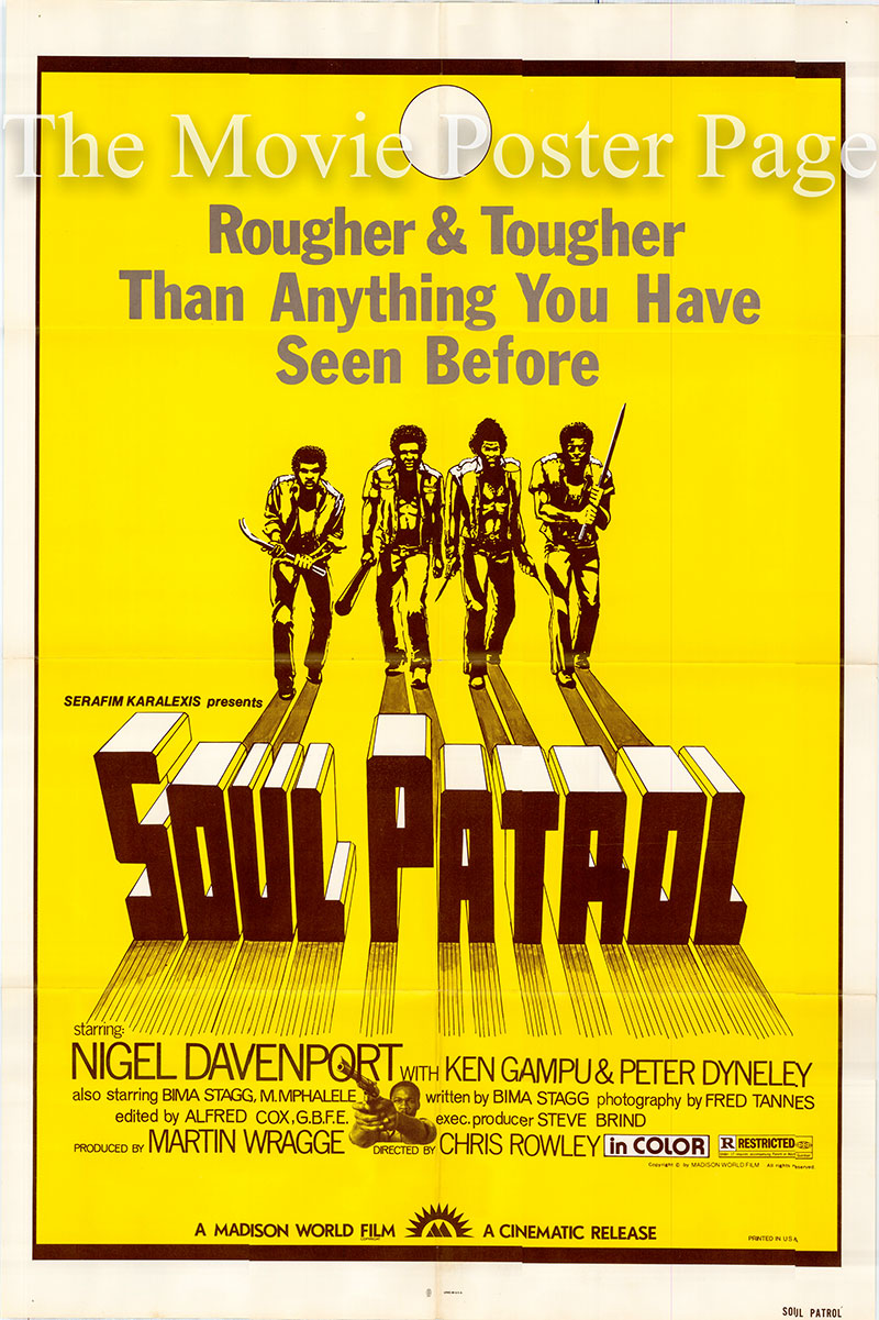 Pictured is a US one-sheet poster for a 1980 rerelease of the 1976 Chris Rowley film Death of a Snowman with the new title Soul Patrol starring Nigel Davenport.
