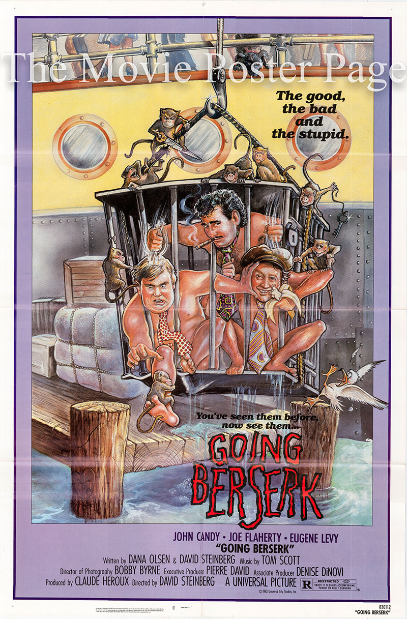 Pictured is a US one-sheet poster for the 1983 David Steinberg film Going Berserk starring John Candy.