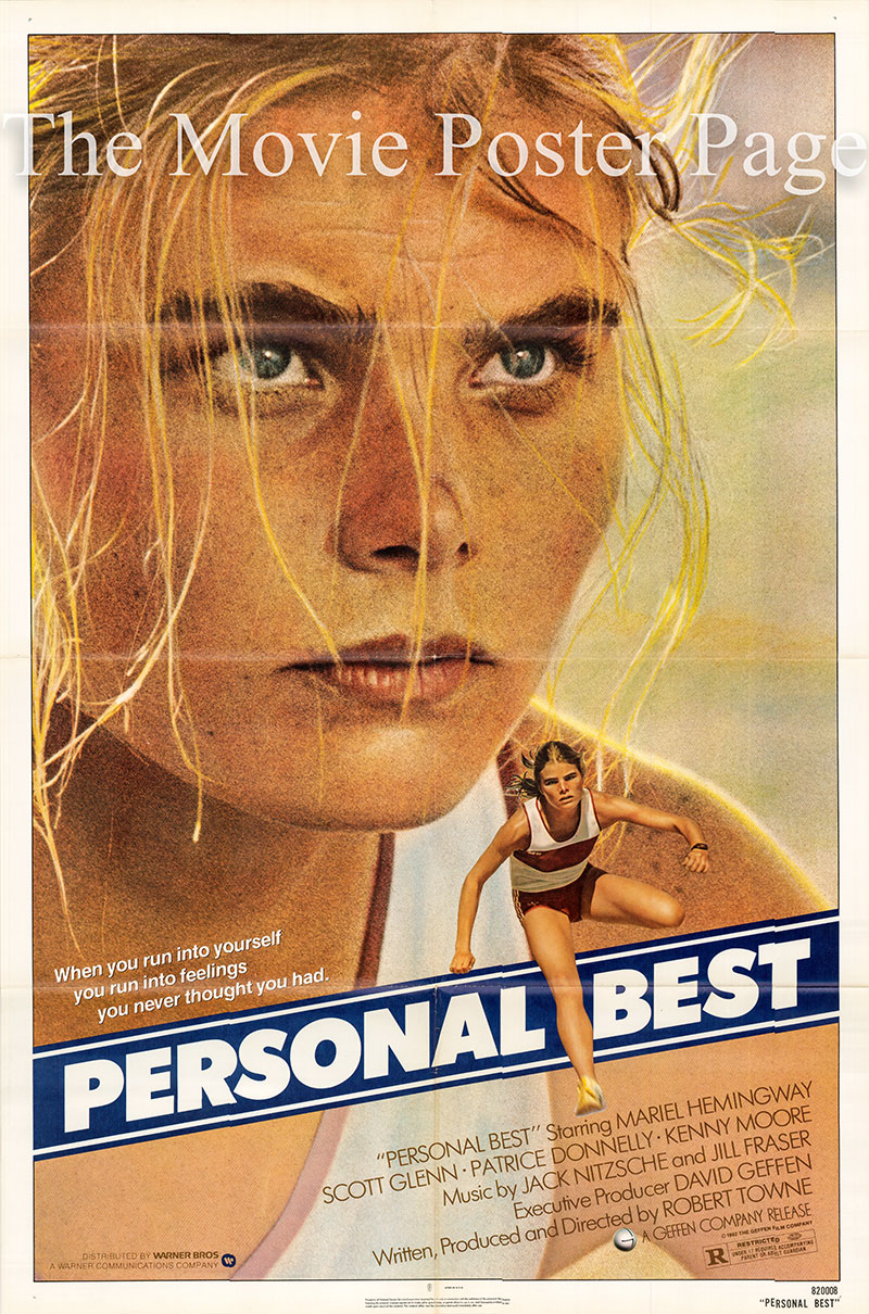 Pictured is a US one-sheet poster for the 1982 Robert Towne film Personal Best starring Mariel Hemmingway.
