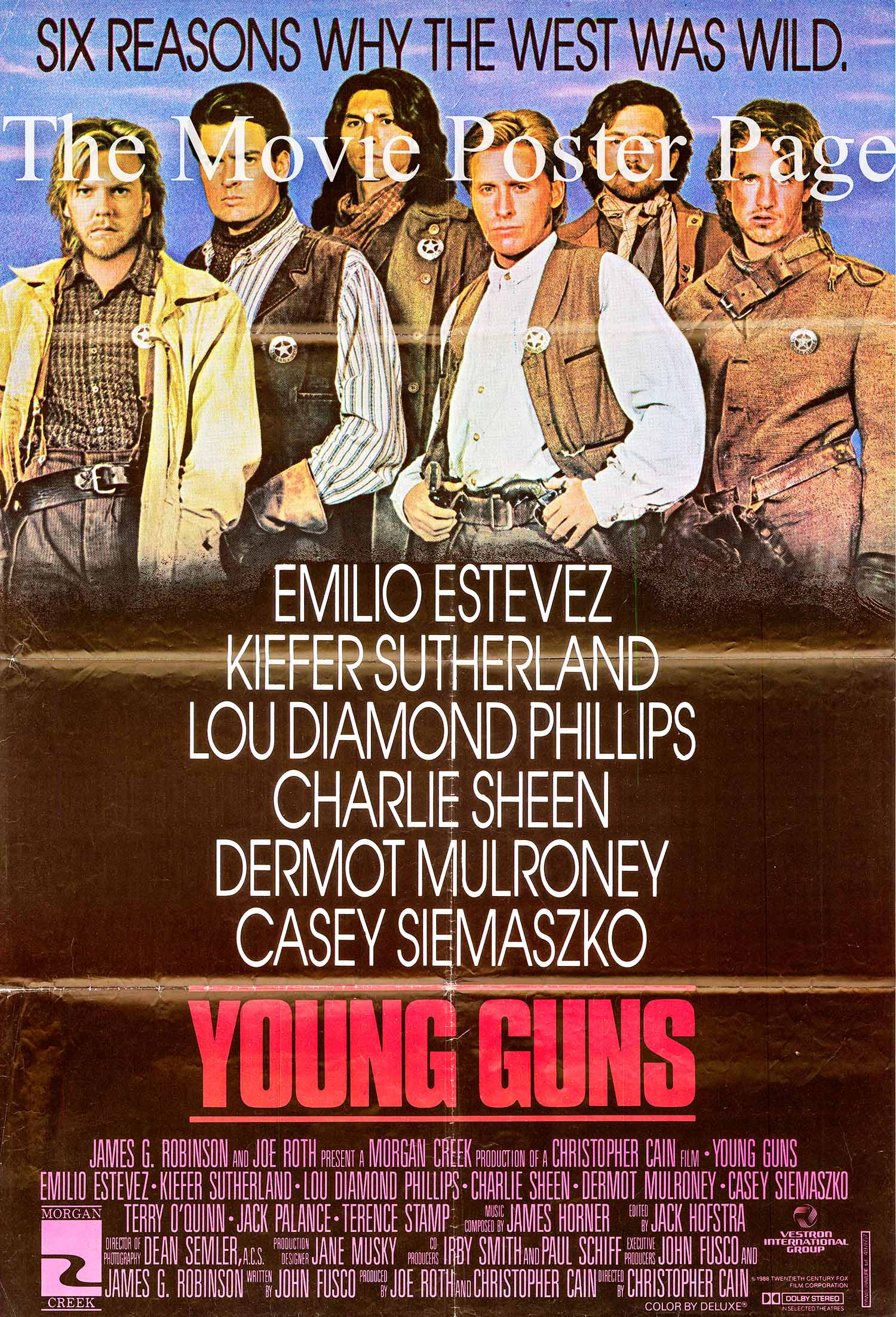 Pictured is a promotional poster for the 1988 Christopher Cain film Young Guns starring Emilio Estevez.