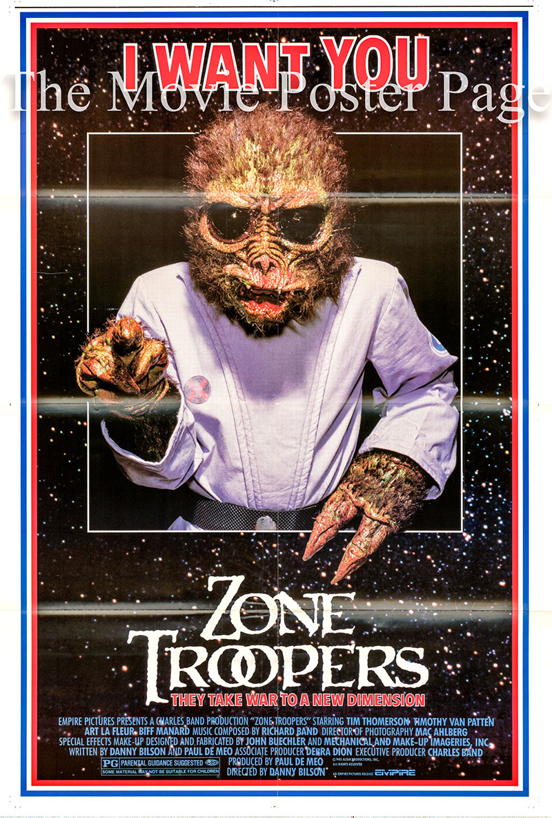 Pictured is a US one-sheet poster for the 1985 Danny Bilson film Zone Troopers starring Tim Thomerson as The Sarge.