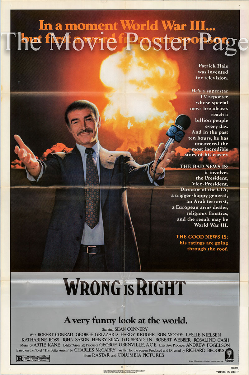 Pictured is a US one-sheet poster for the 1982 Richard Brooks film Wrong is Right starring Sean Connery as Patrick Hale.