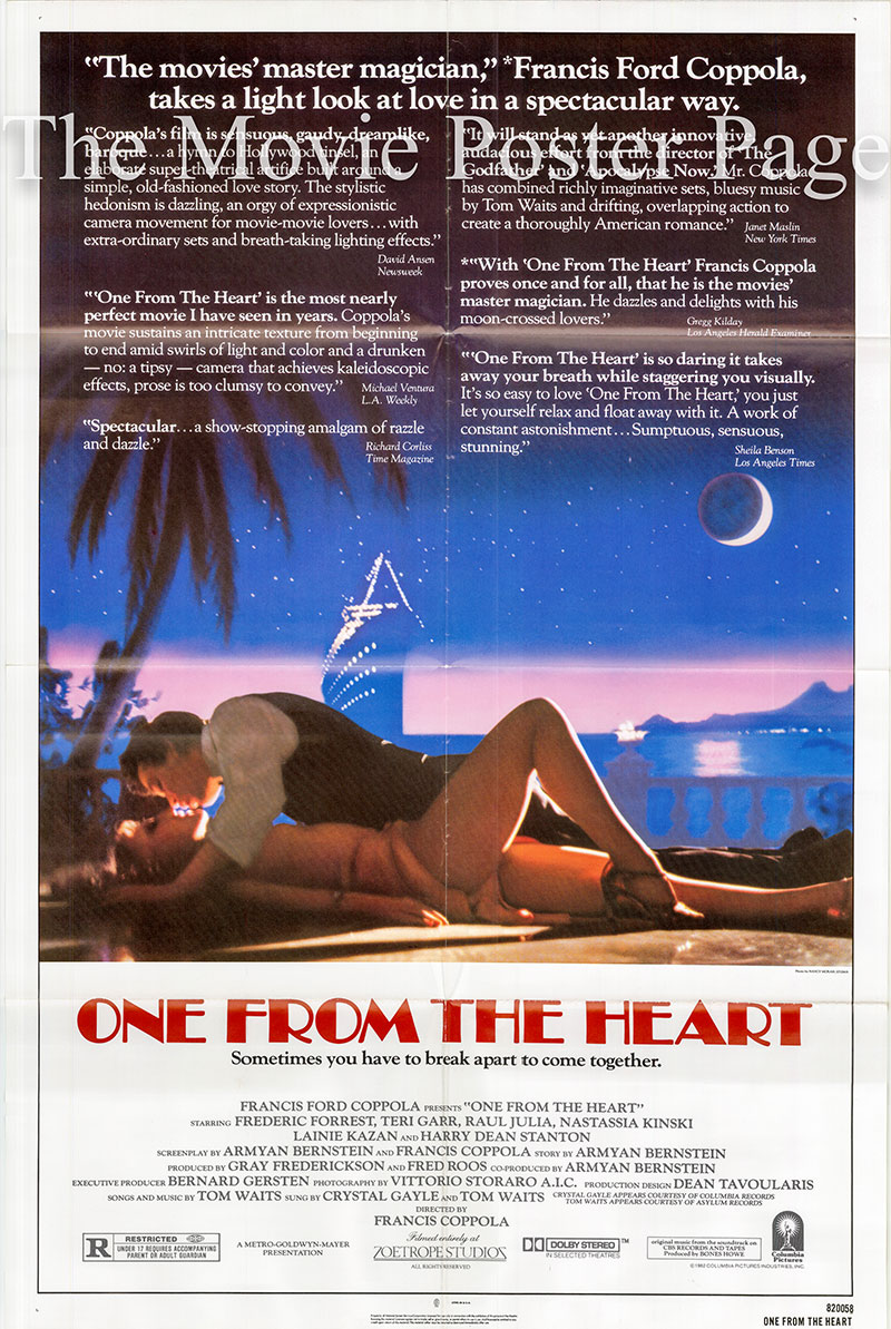 Pictured is a US one-sheet poster for the 1982 Francis Ford Coppola film One from the Heart starring Frederic Forrest as Hank.
