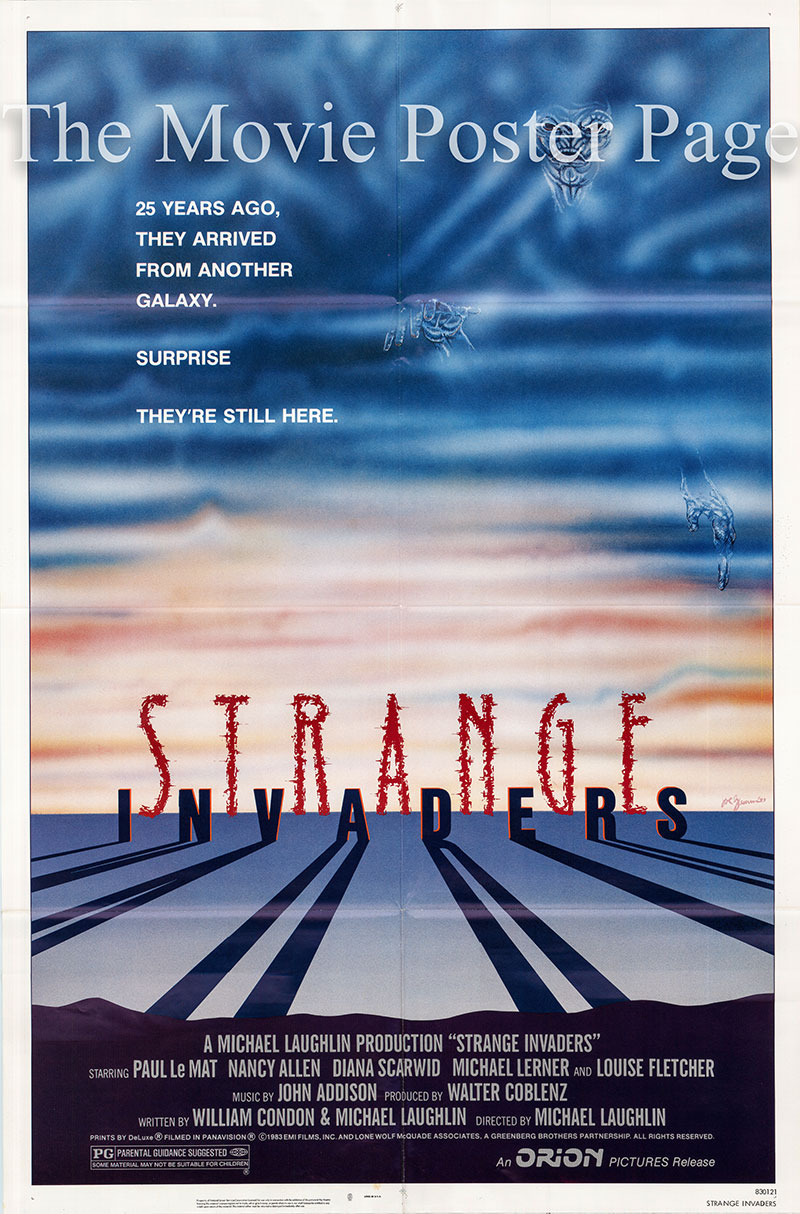 Pictured is a US promotioanl one-sheet poster for the 1983 Michael Laughlin film Strange Invaders starring Paul LeMat as Charles Bigelow.