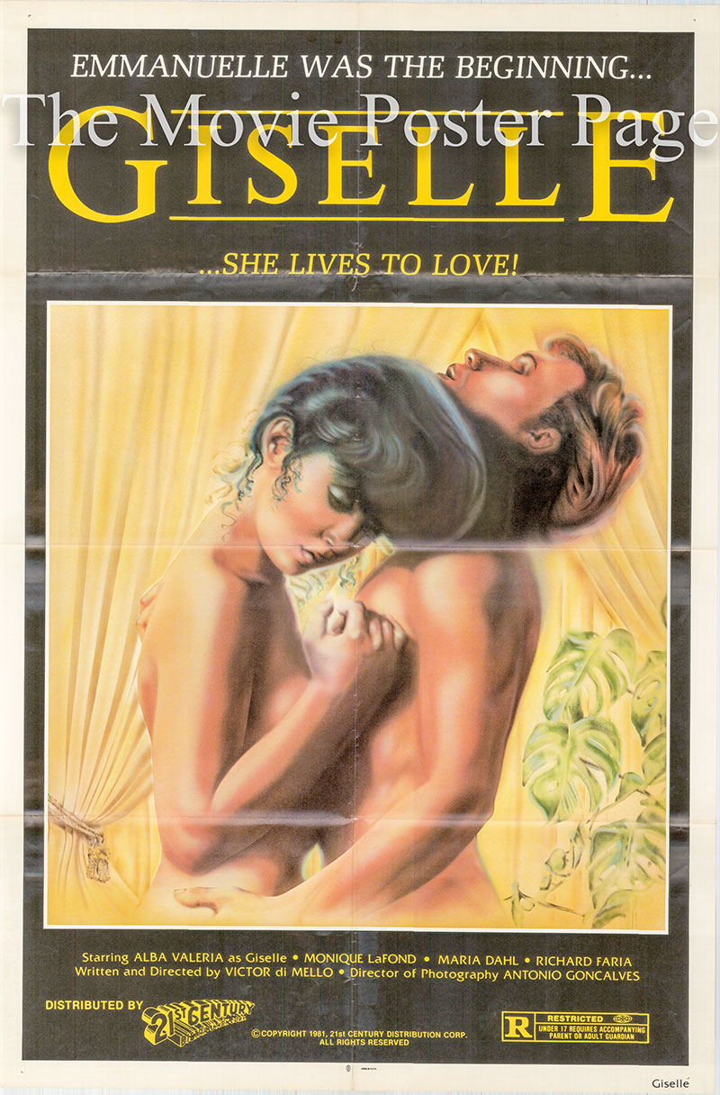 Pictured is a US one-sheet poster for the 1981  Victor di Mello film Giselle starring Alba Valeria as Giselle.