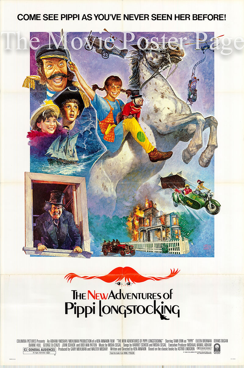 Pictured is a US one-sheet poster for the 1988 Ken Annakin folm The New Adventures of Pippi Longstocking starring Tami Erin as Pippi.