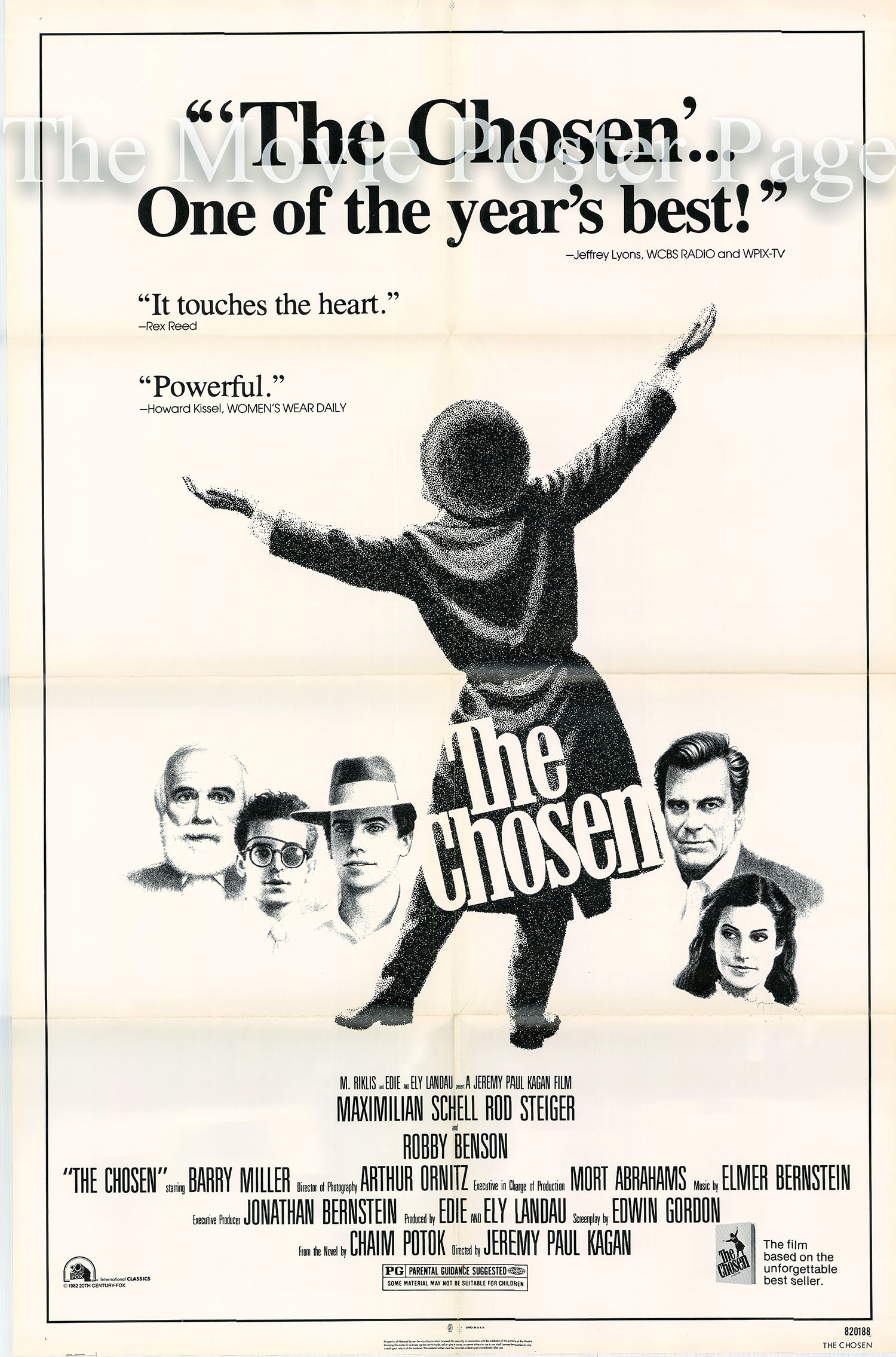 Pictured is a US promotional poster for the 1982 Jeremy Kagan film The Chosen starring Maximilian Schell.