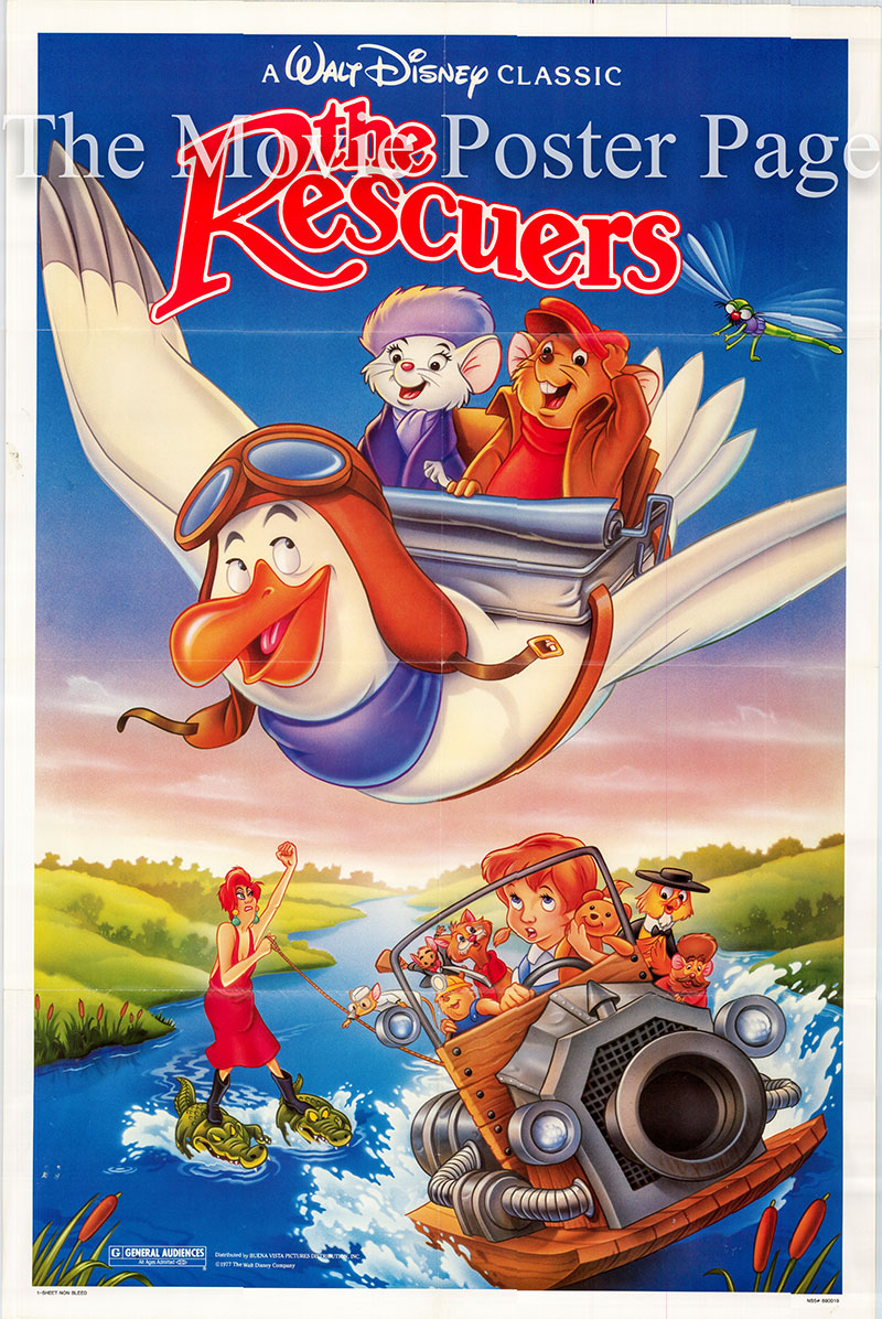 Pictured is a US one-sheet poster for a 1989 rerelease of the 1977 Disney animation film The Rescuers starring Bob Newhart as the voice of Bernard.