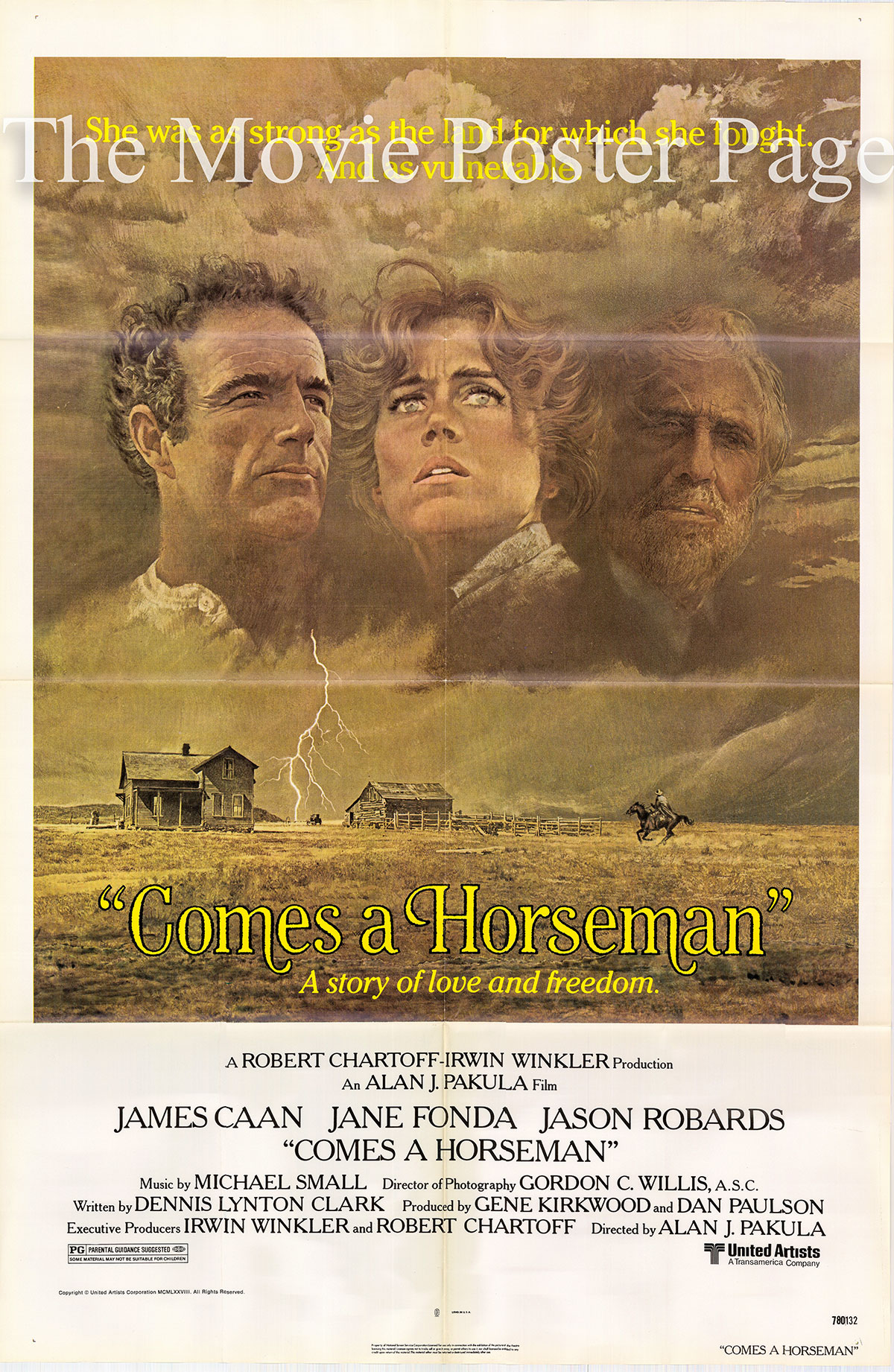 Pictured is a US one-sheet poster for the 1978 Alan J. Pakula film Comes a Horseman starring James Caan.