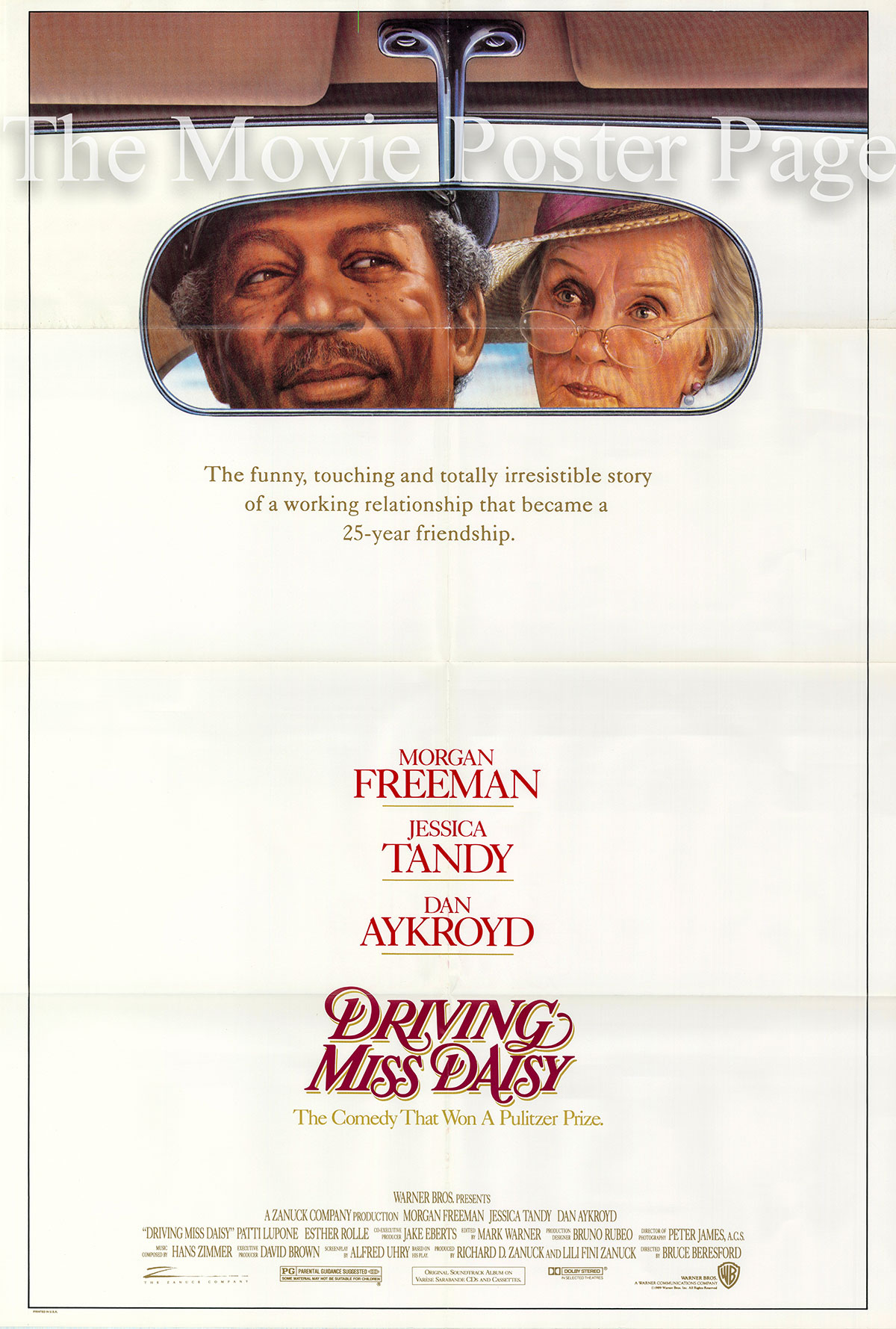 Pictured is a US promotional one-sheet poster for the 1989 Bruce Beresford film Driving Miss Daisy starring Morgan Freeman and Jessica Tandy.