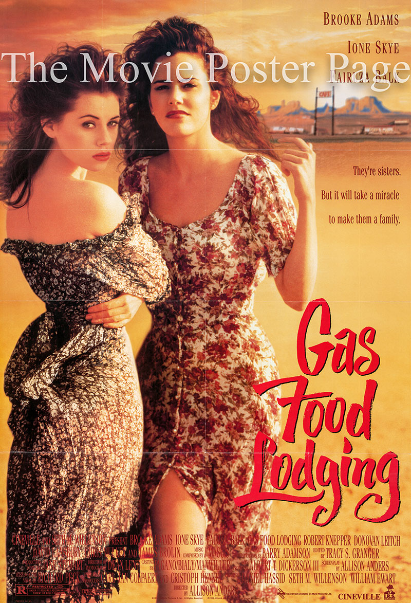 Pictured is a US one-sheet poster for the 1992 Alison Anders film Gas Food Lodging starring Ione Skye.