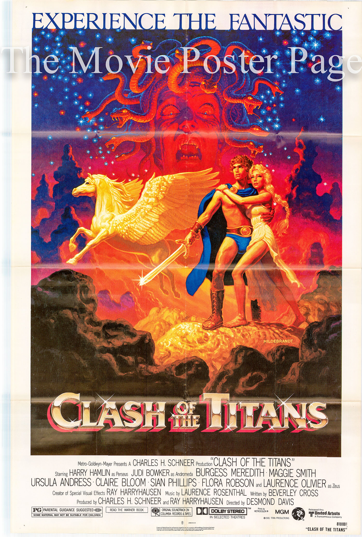 Pictured is a US one-sheet prootional poster for the 1981 Desmond Davis film Clash of the Titans starring Laurence Olivier.