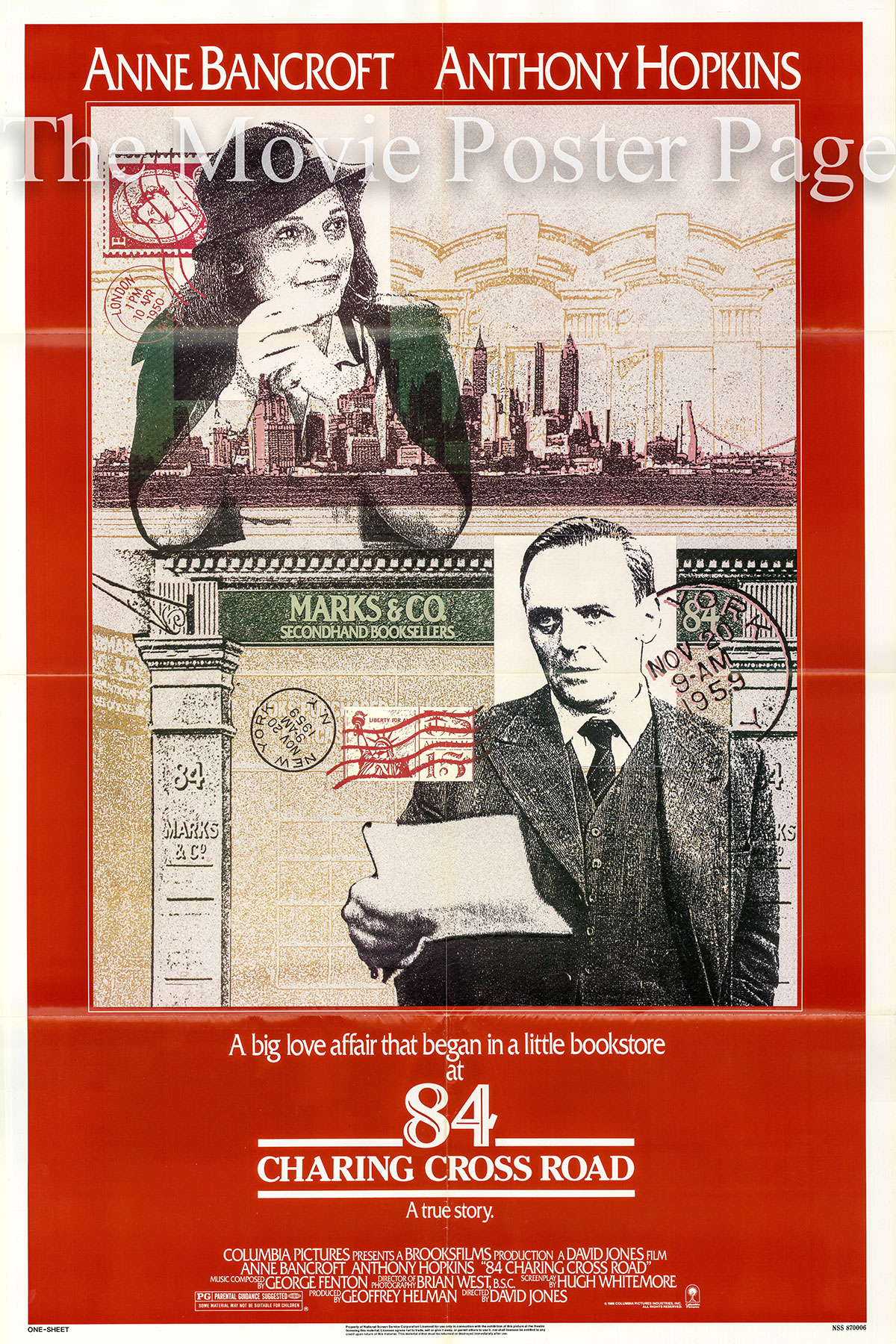 PIctured is a US one-sheet poster for the 1987 David Jones film 84 Charing Cross Road starring Anthony Hopkins.