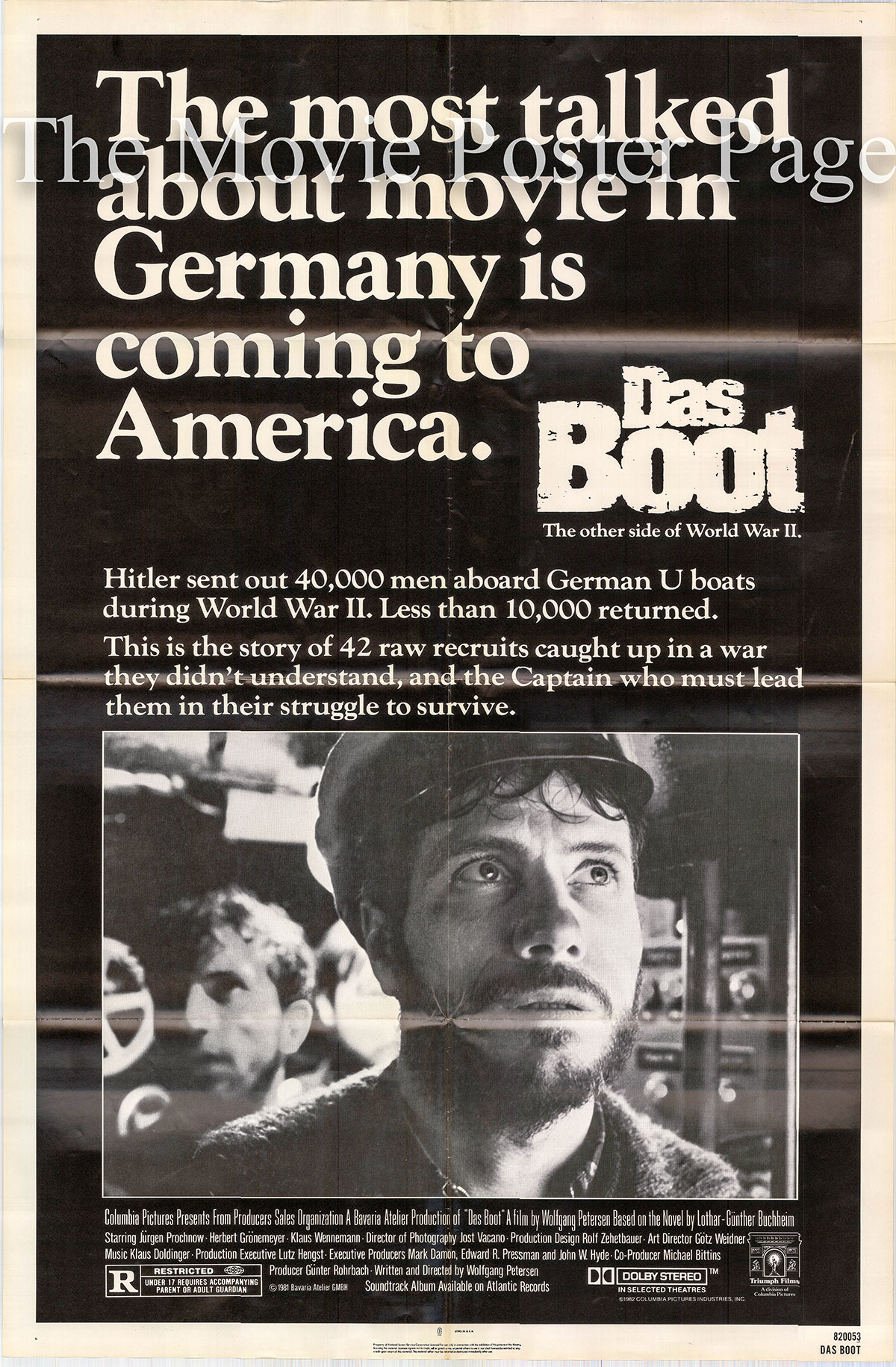 Pictured is a US one-sheet poster for the 1982 Wolfgang Petersen film Das Boot starring Jurgen Prochnow.