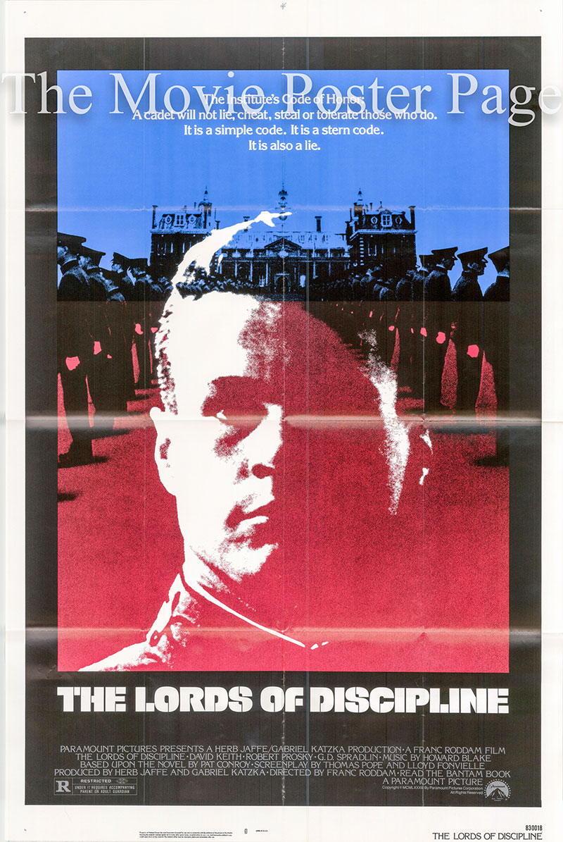 Pictured is a US one-sheet poster for the 1983 Frank Roddam film The Lords of Discipline starring David Keith.