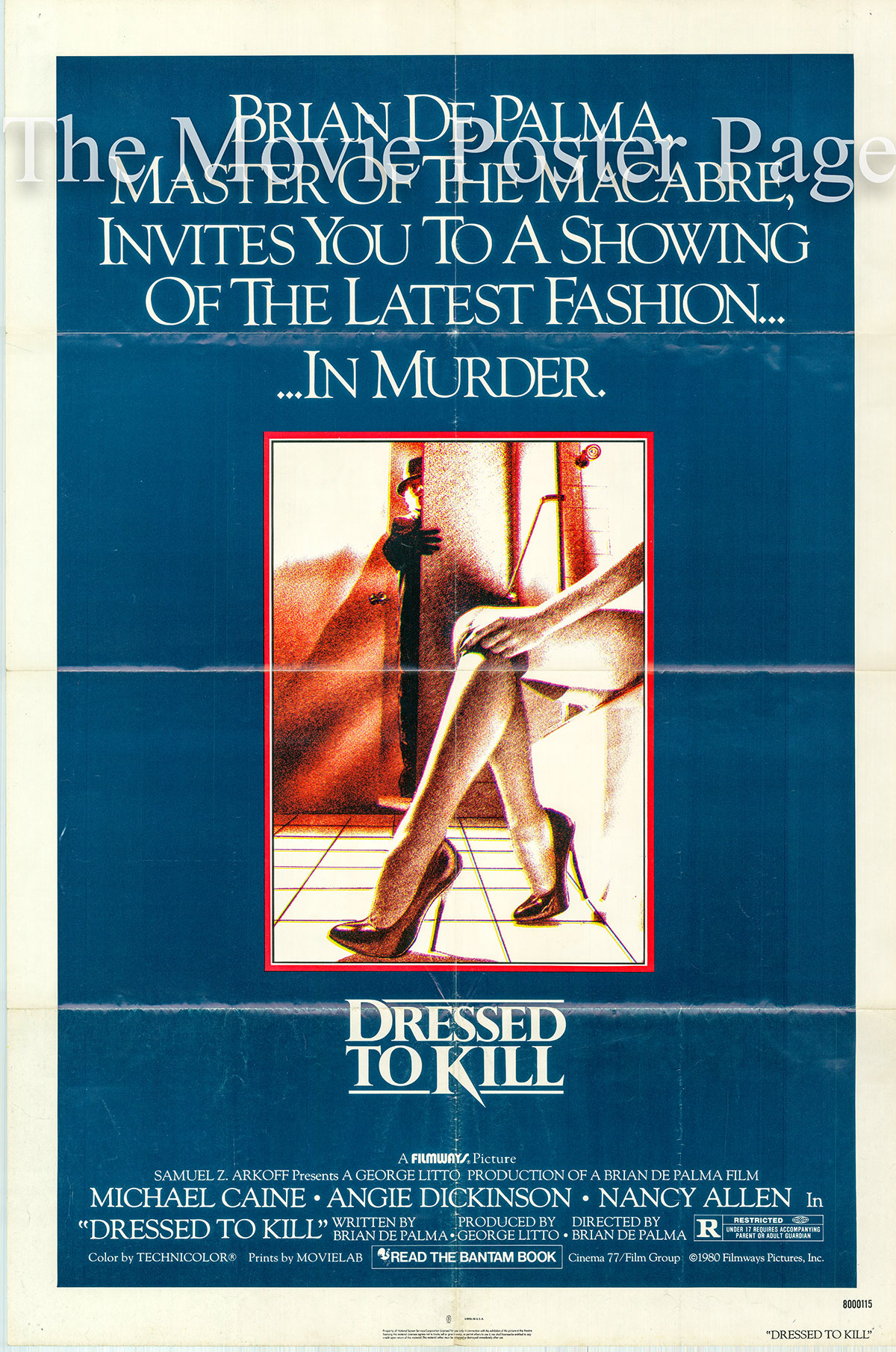 Pictured is a US one-sheet promotional poster for the 1980 Brian de Palma film Dressed to Kill starring Michael Caine.