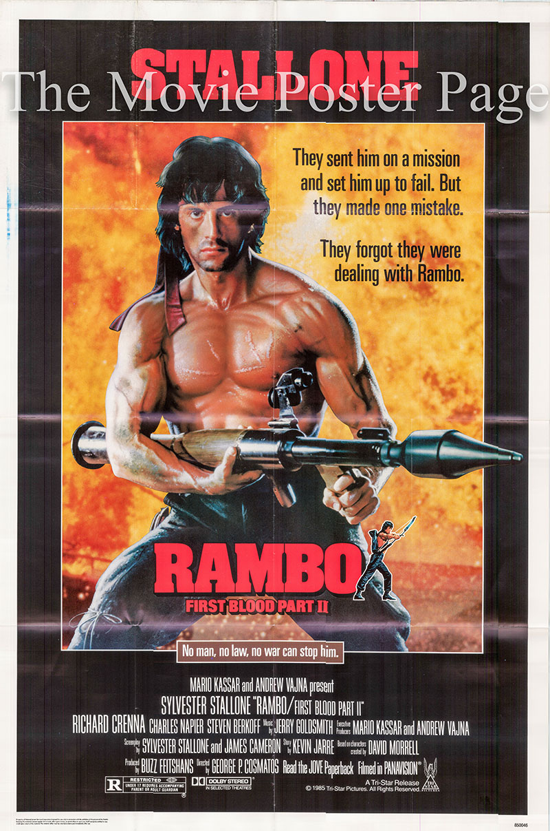 Pictured is a US one-sheet poster for the 1985 George P. Cosmatos film Rambo First Blood Part II starring Sylvester Stallone as John Rambo.
