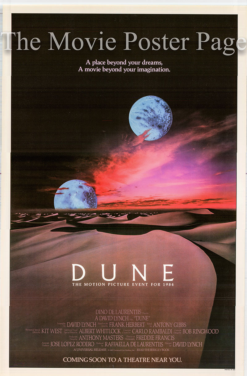 Pictured is a US one-sheet two-moon advance poster for the 1984 David Lynch film Dune starring Kyle MacLachlan as Paul Atreides.