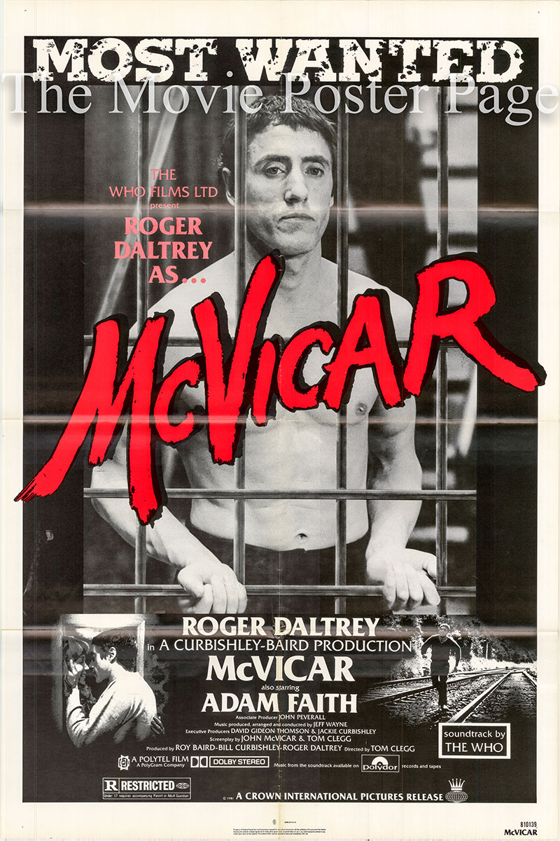 Pictured is a US one-sheet poster for the 1980 Tom Clegg film McVicar starring Roger Daltry.