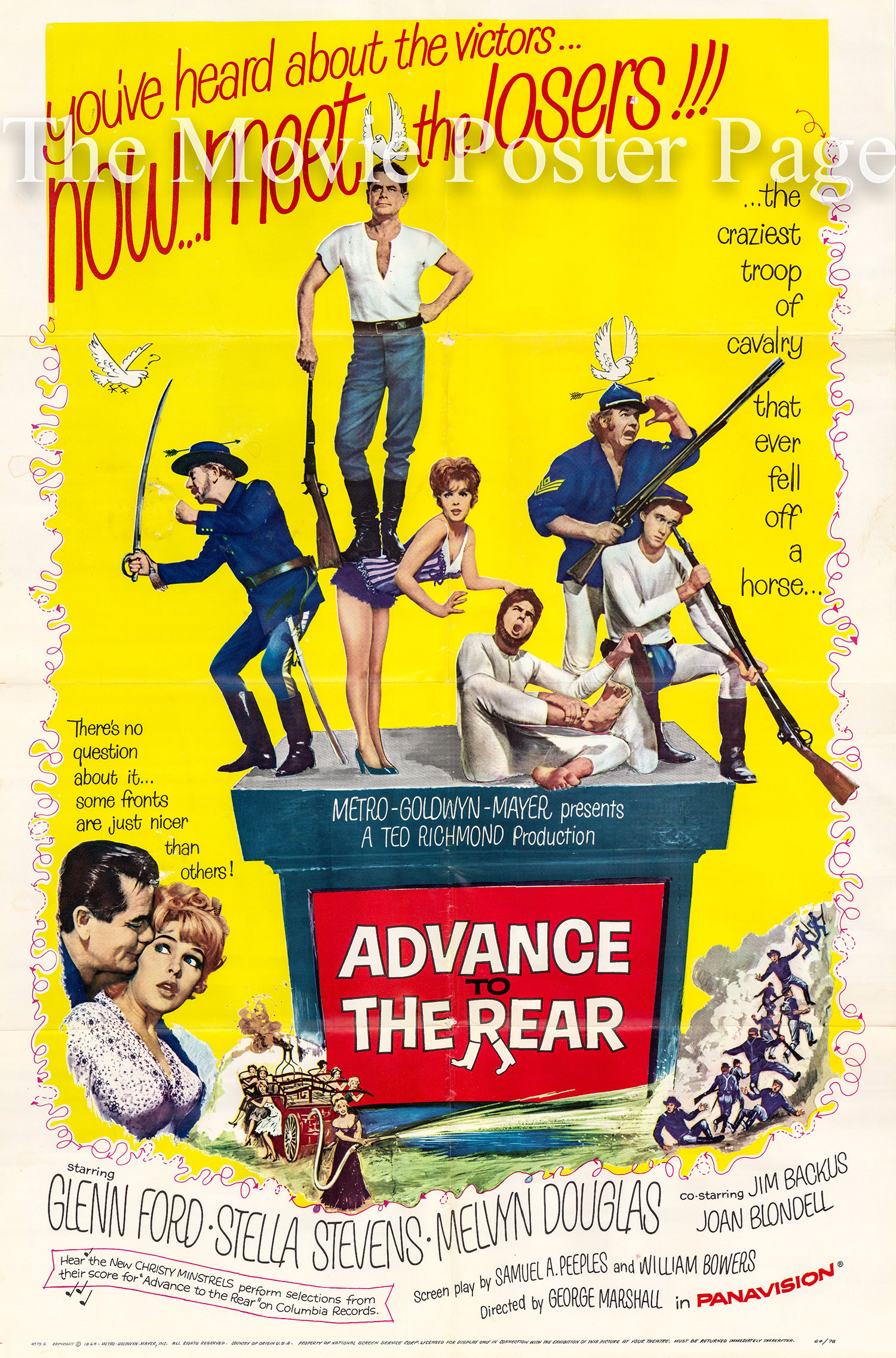 Pictured is a US one-sheet promotional poster for the 1964 George Marshall film Advance to the Rear starring Glenn Ford.