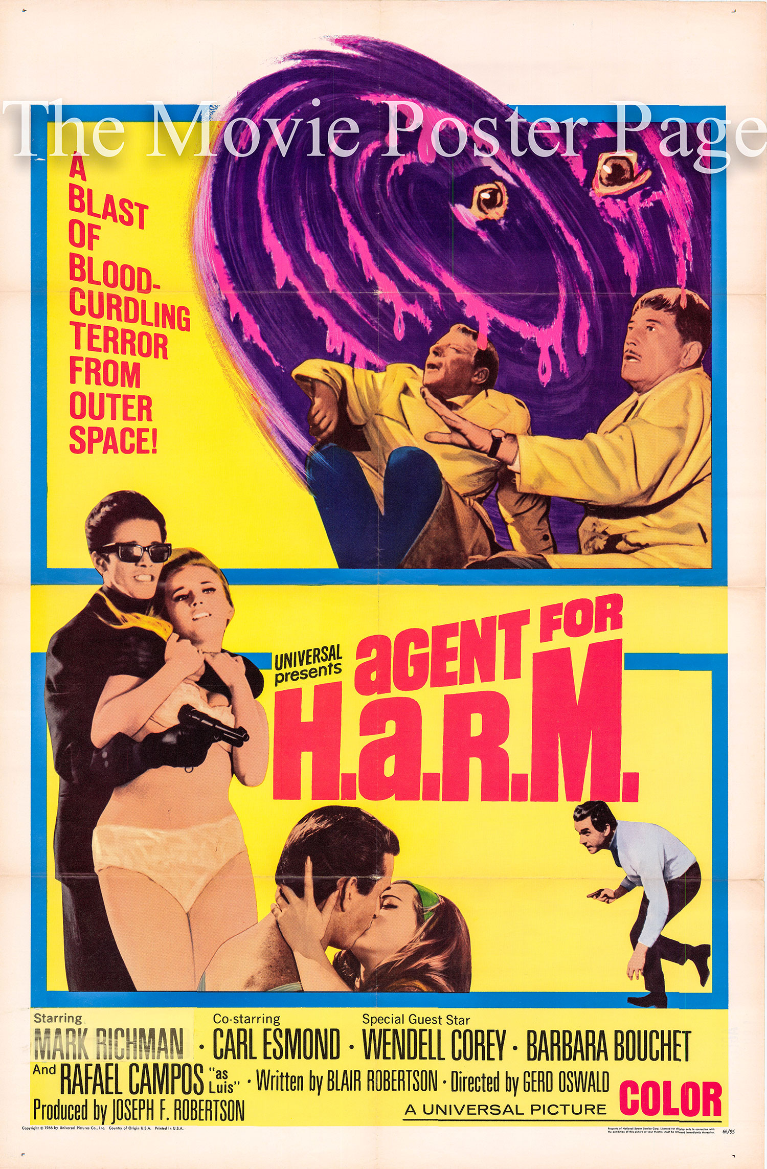 Pictured is a US one-sheet for the 1965 Gert Oswald film Agent for H.A.R.M. starring Peter Marc Richman as Adam Chance.
