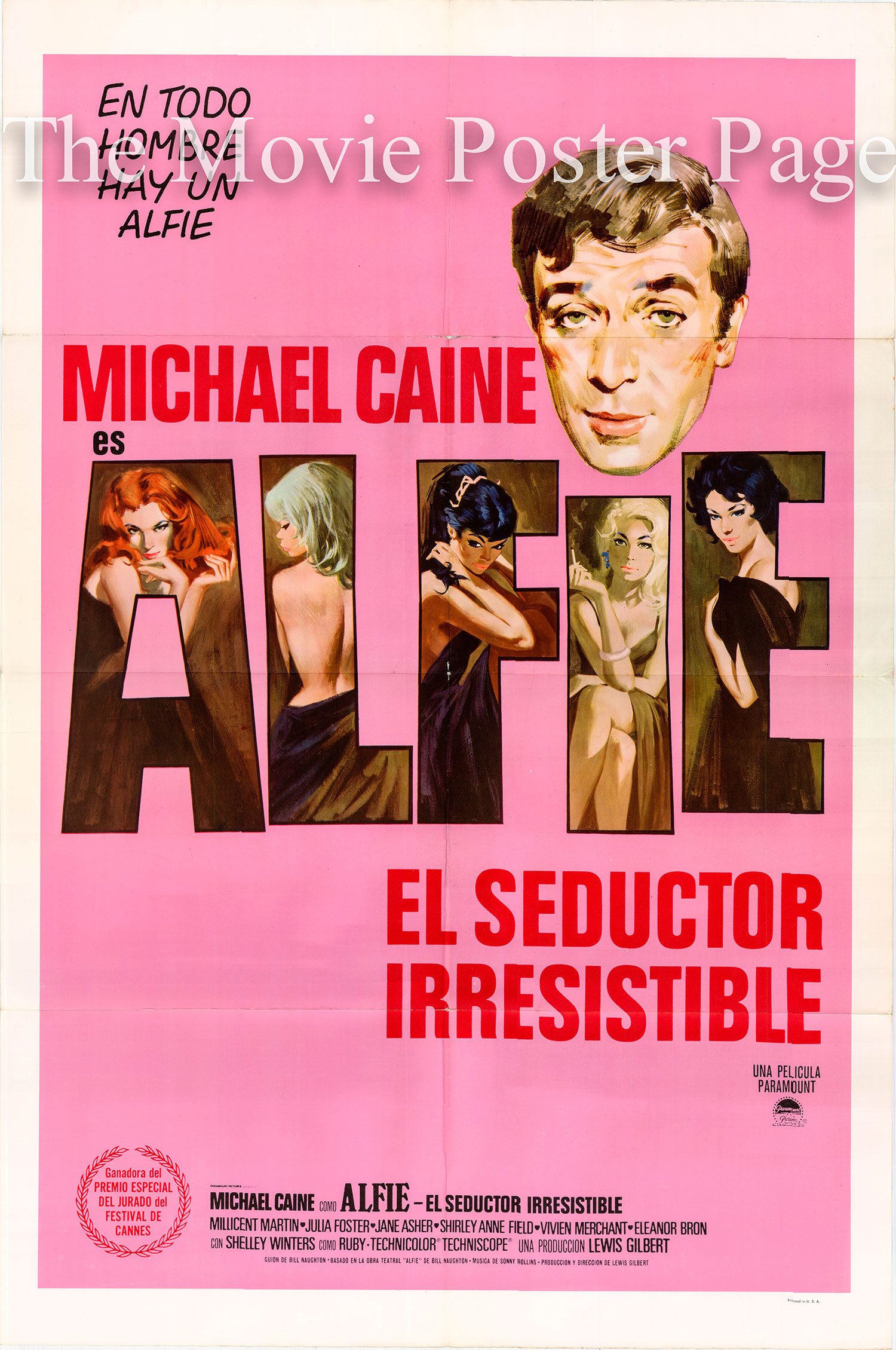 Pictured is a US-made Spanish promotional poster for the 1966 Lewis Gilbert film Alfie starring Michael Caine.