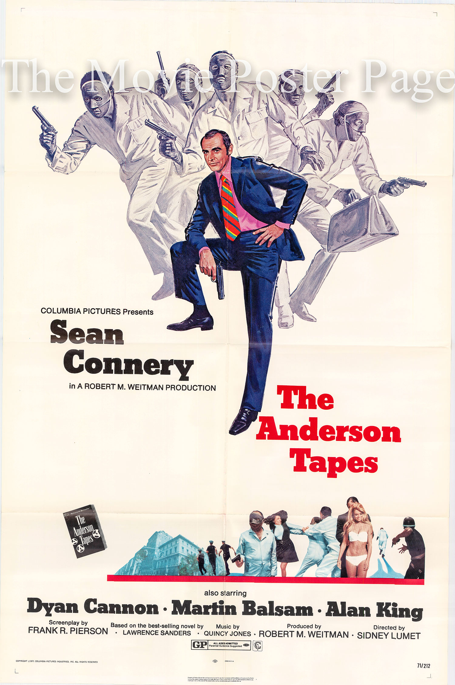 Pictured is a US one-sheet promotional poster for the 1971 Sidney Lumet film The Anderson Tapes starring Sean Connery.