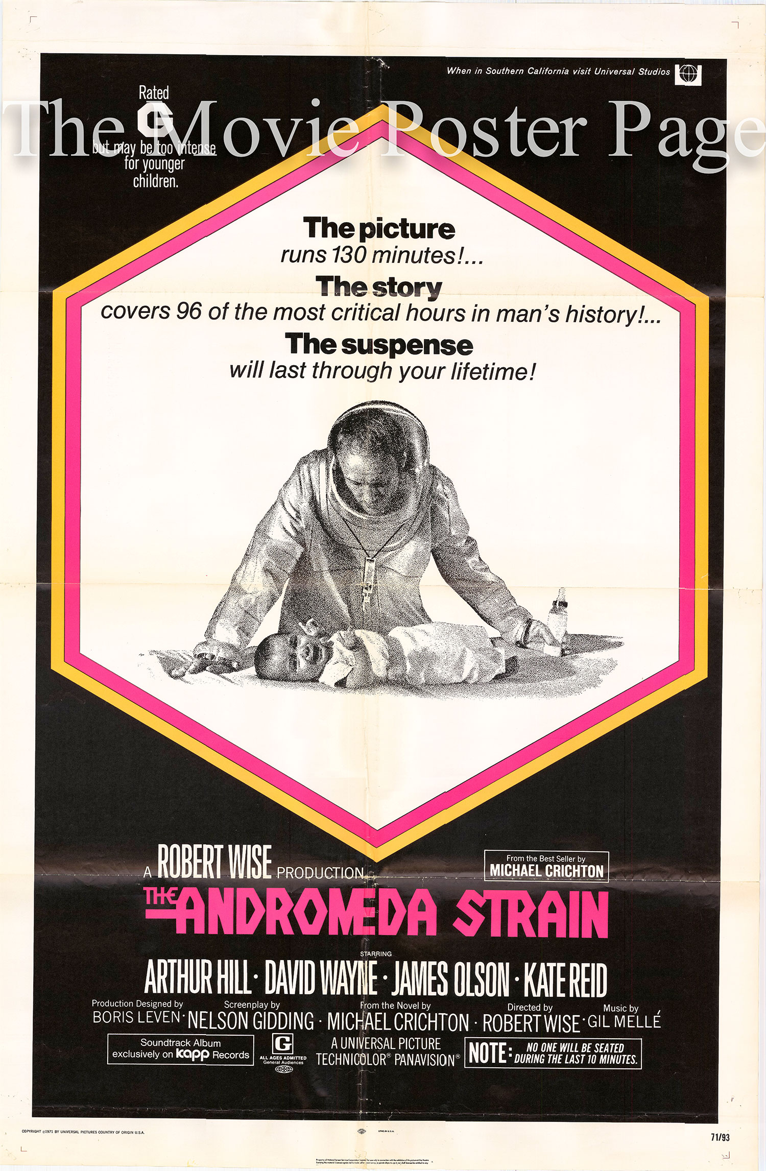 Pictured is a US one-sheet for the 1971 Robert Wise film The Andromeda Strain starring James Olson.