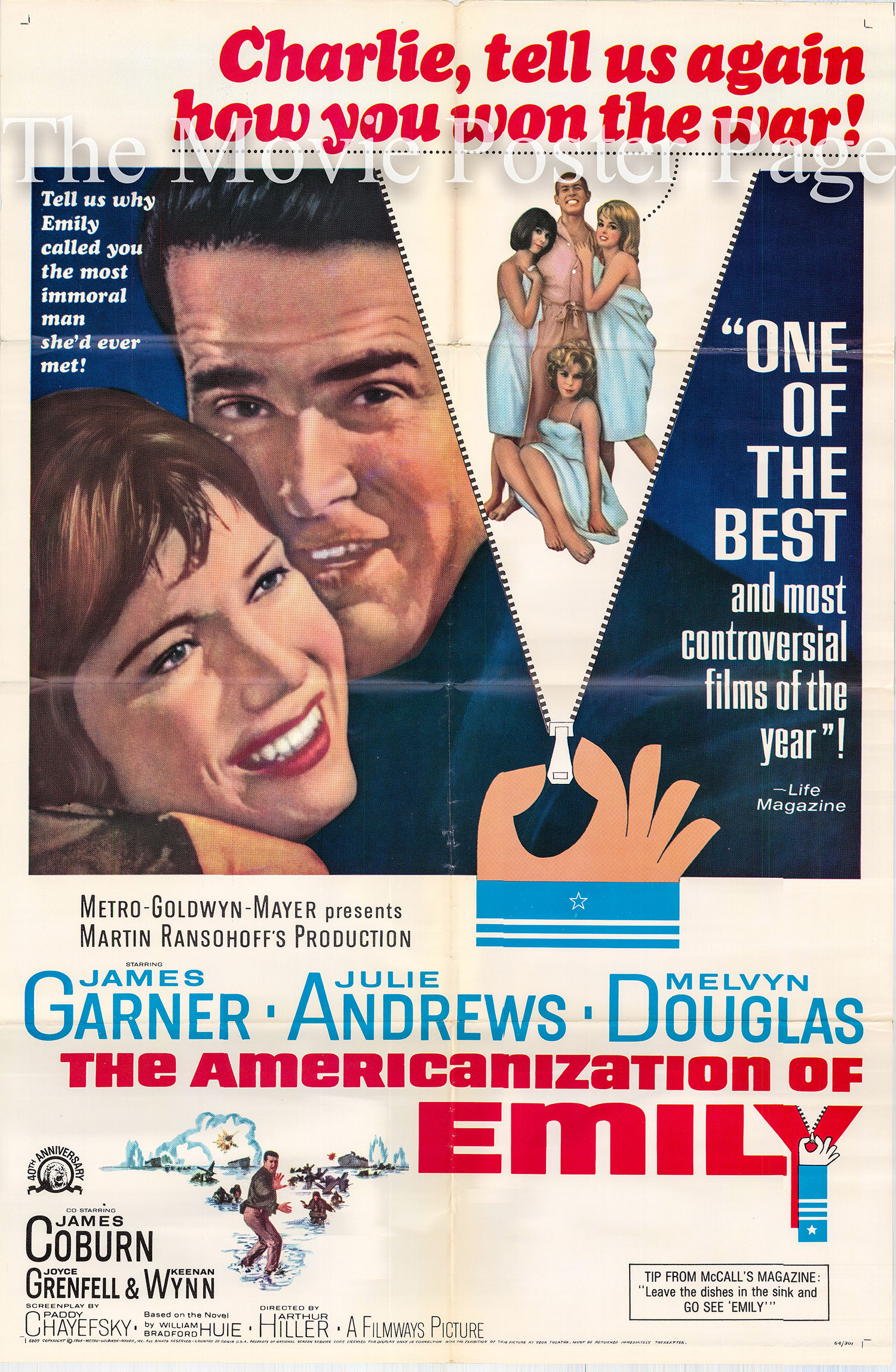 Pictured is a US promotional poster for the 164 Arthur Hiller film The Americanization of Emily starring James Garner and Julie Andrews.