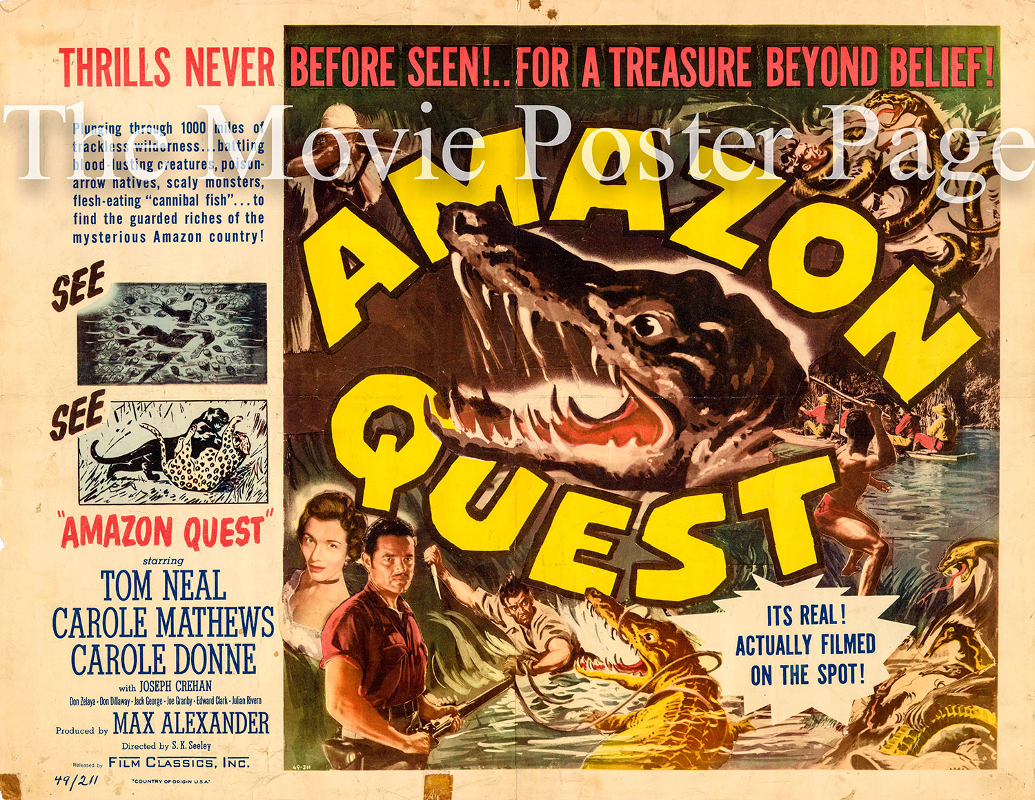 Pictured is a US half-sheet poster for the 1949 Steve Sekely film Amazon Quest starring Tom Neal.