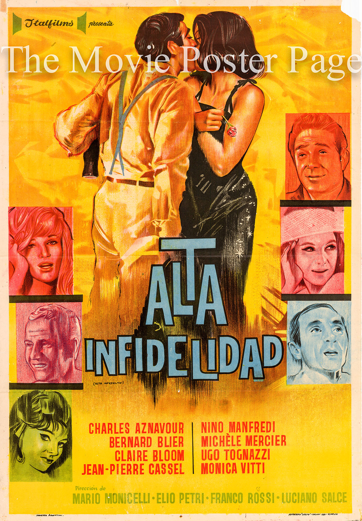 Pictured is an Argentine one-sheet poster for the 1964 Mario Monicelli film High Infidelity starring Charles Aznavour.