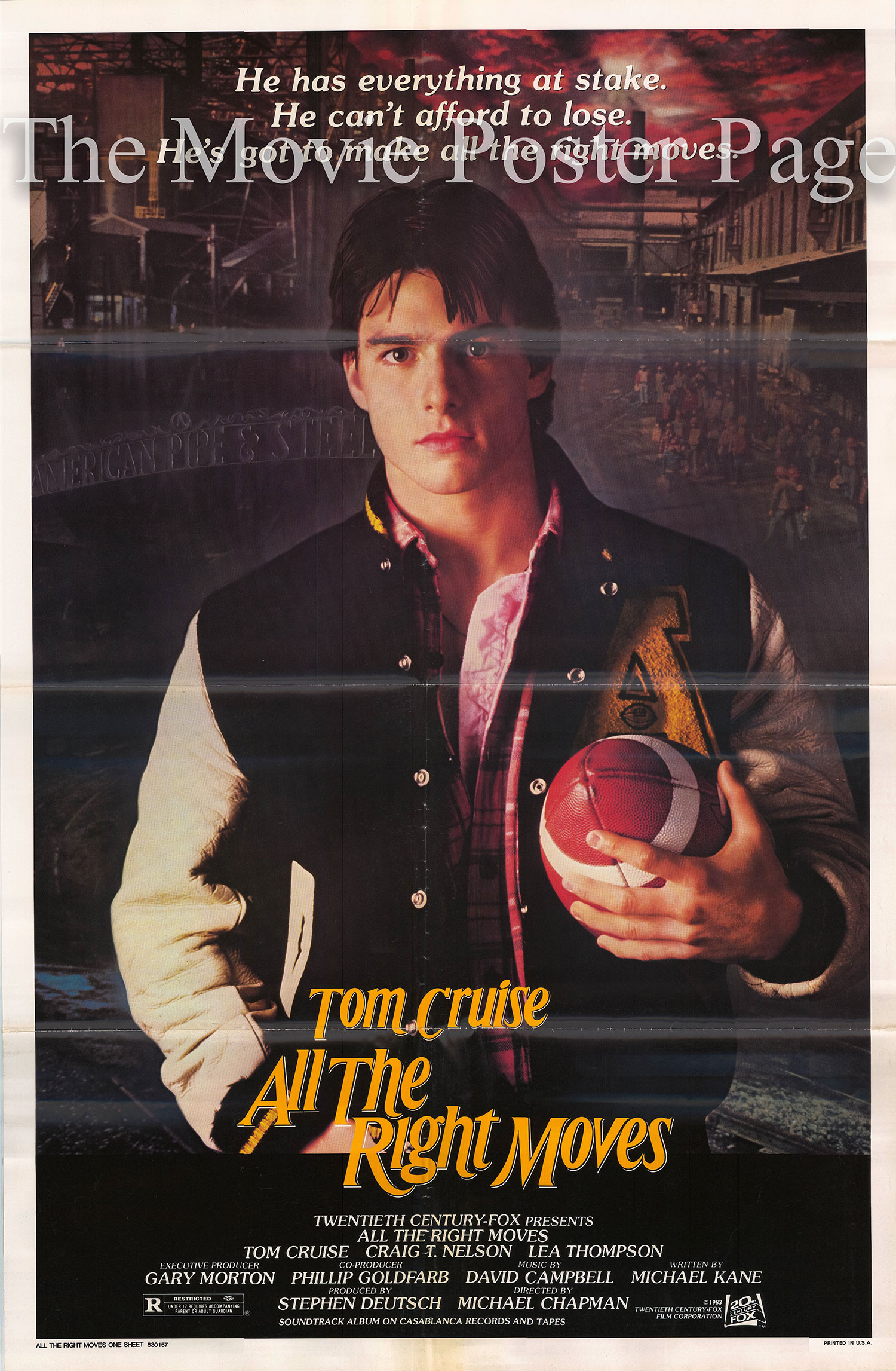 Pictured is a US poster for the 1983 Michael Chapman film All the Right Moves starring Tom Cruise.