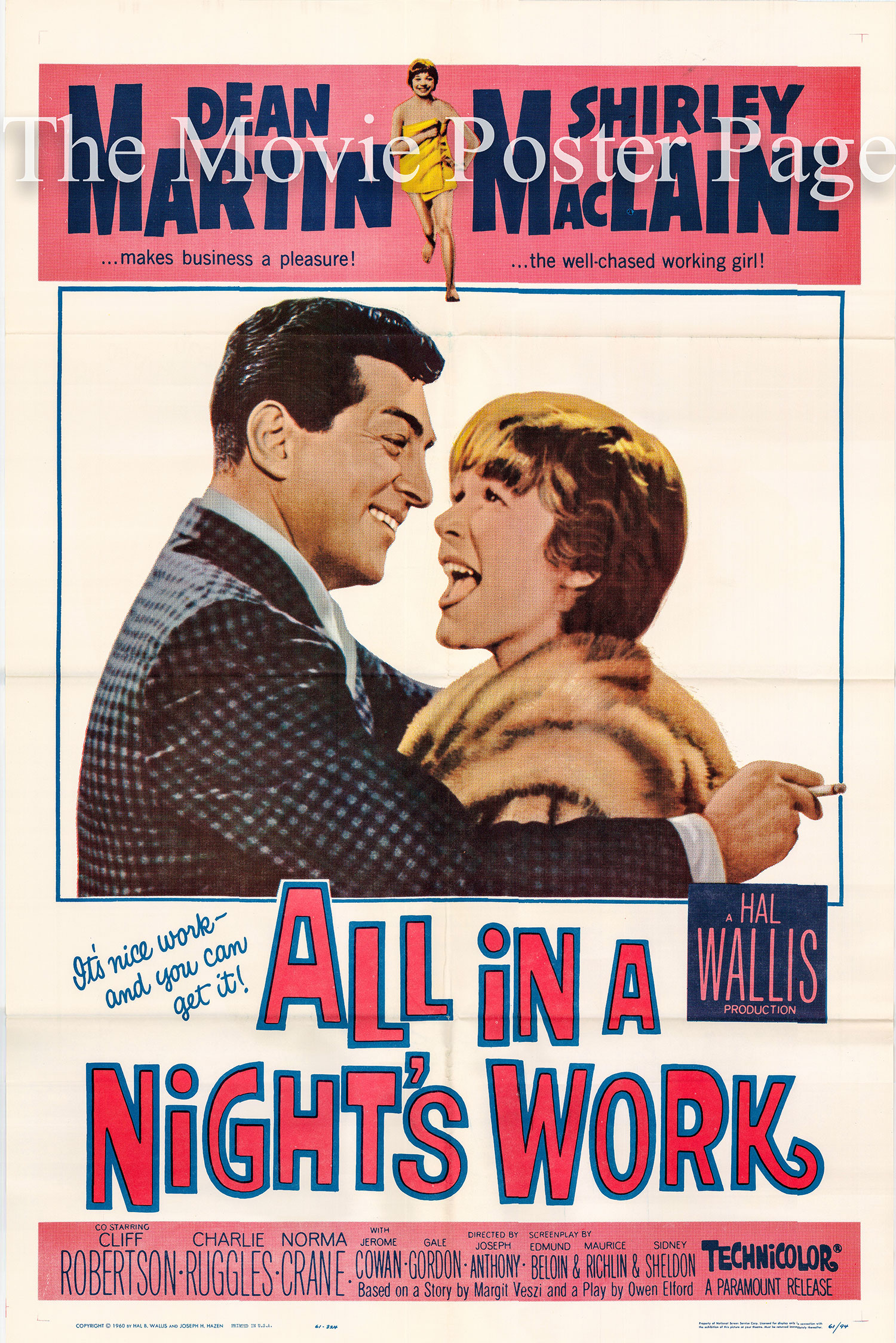 Pictured is a US one-sheet poster for the 1961 Joseph Anthony film <i>All in a Night's Work</i> starring Dean Martin.
