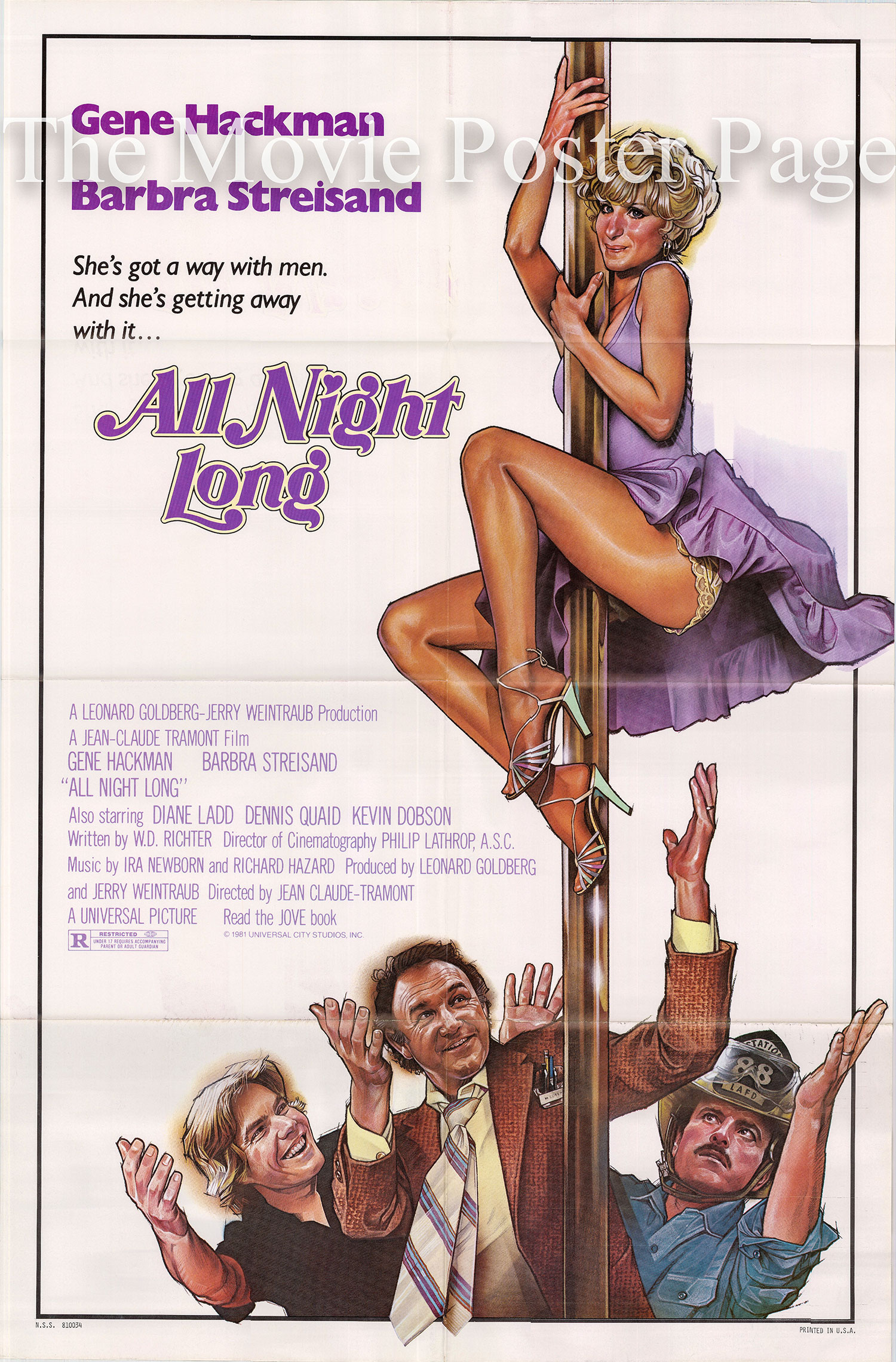 Pictured is a US one-sheet poster for the 1981 Jean-Claude Tramont film <i>All Night Long</i> starring Barbra Streisand.